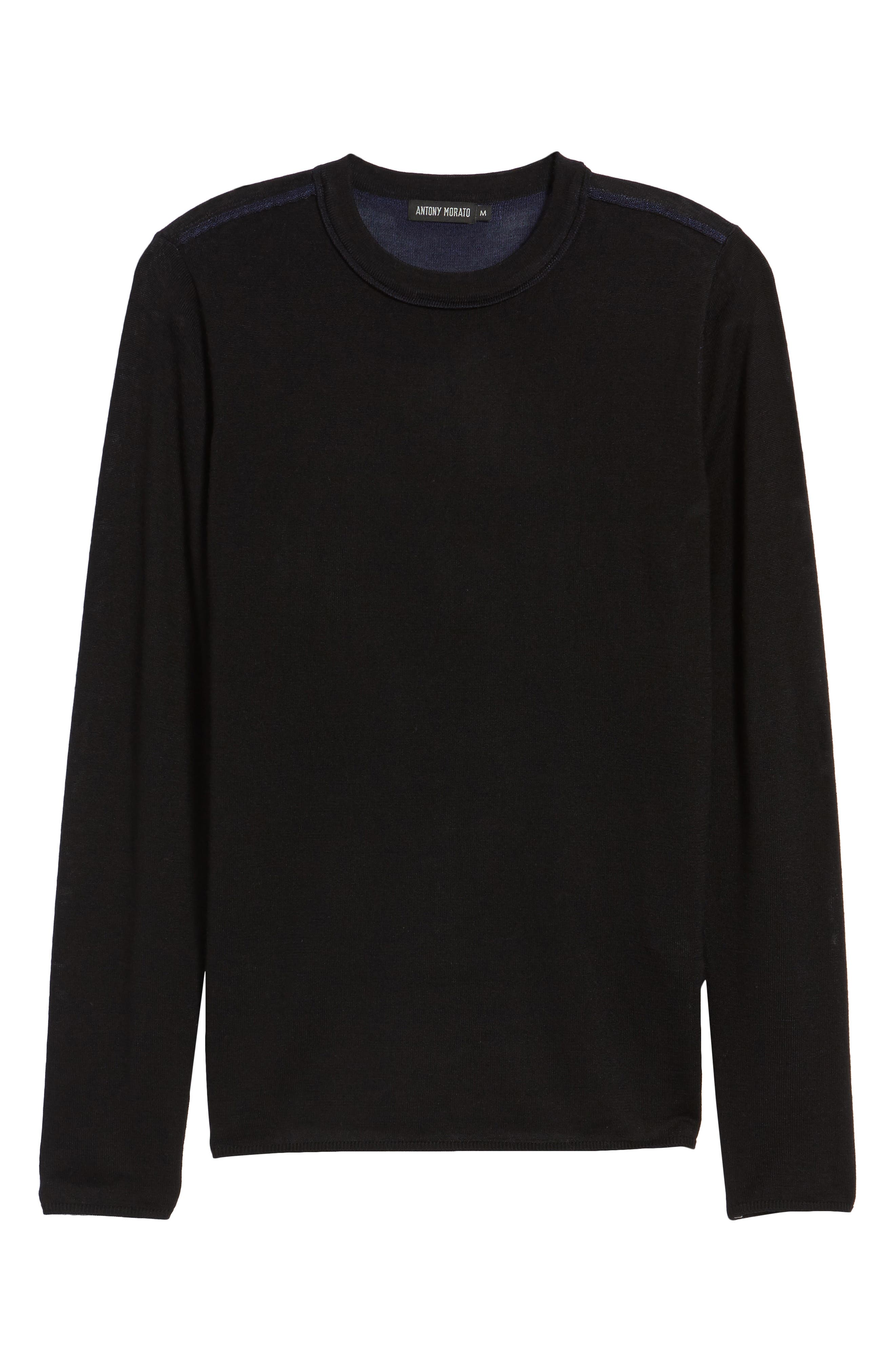 Crewneck Wool Blend Sweater,                             Alternate thumbnail 6, color,                             Black