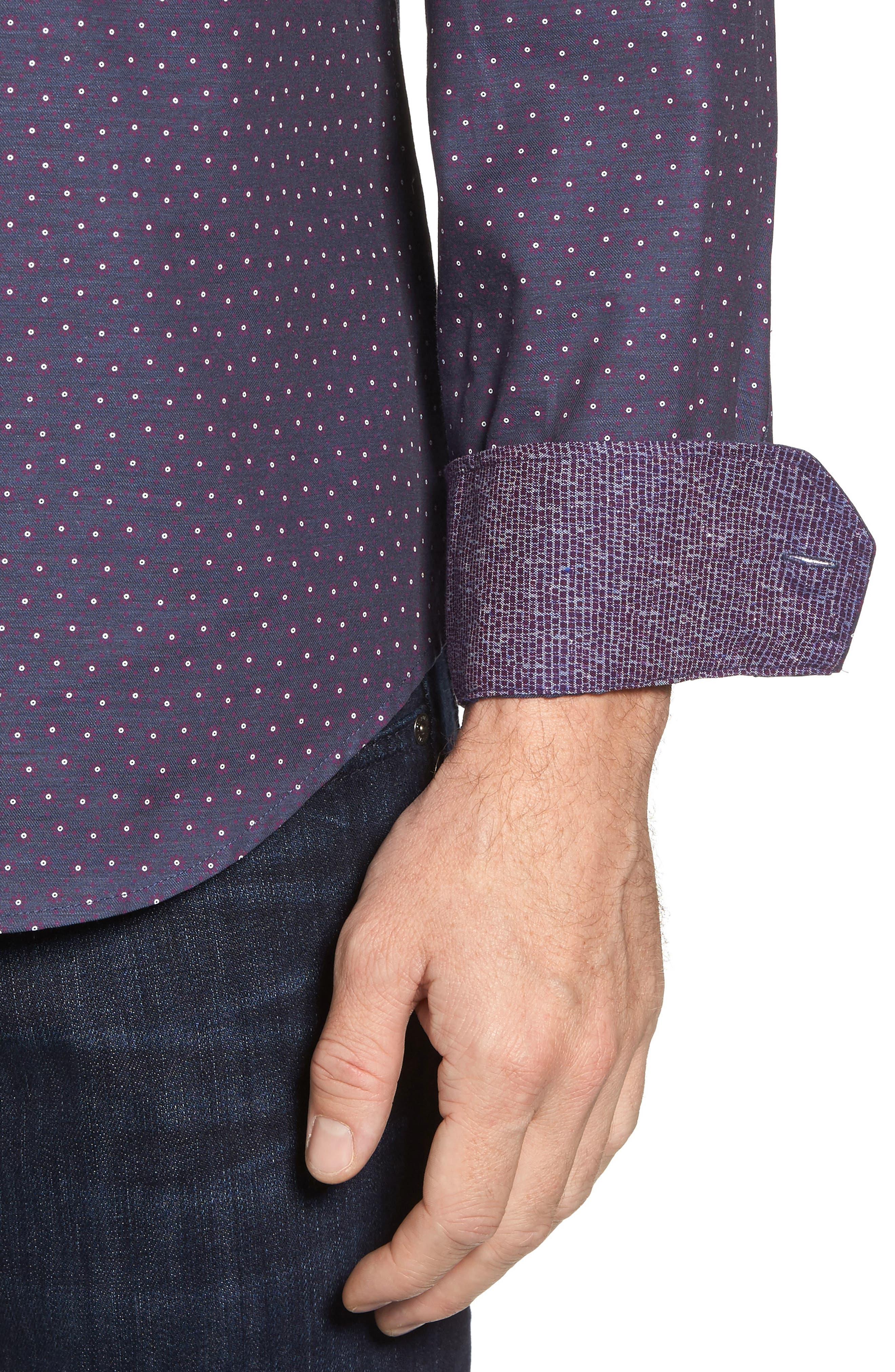 Shaped Fit Floral Print Sport Shirt,                             Alternate thumbnail 4, color,                             Bordeaux