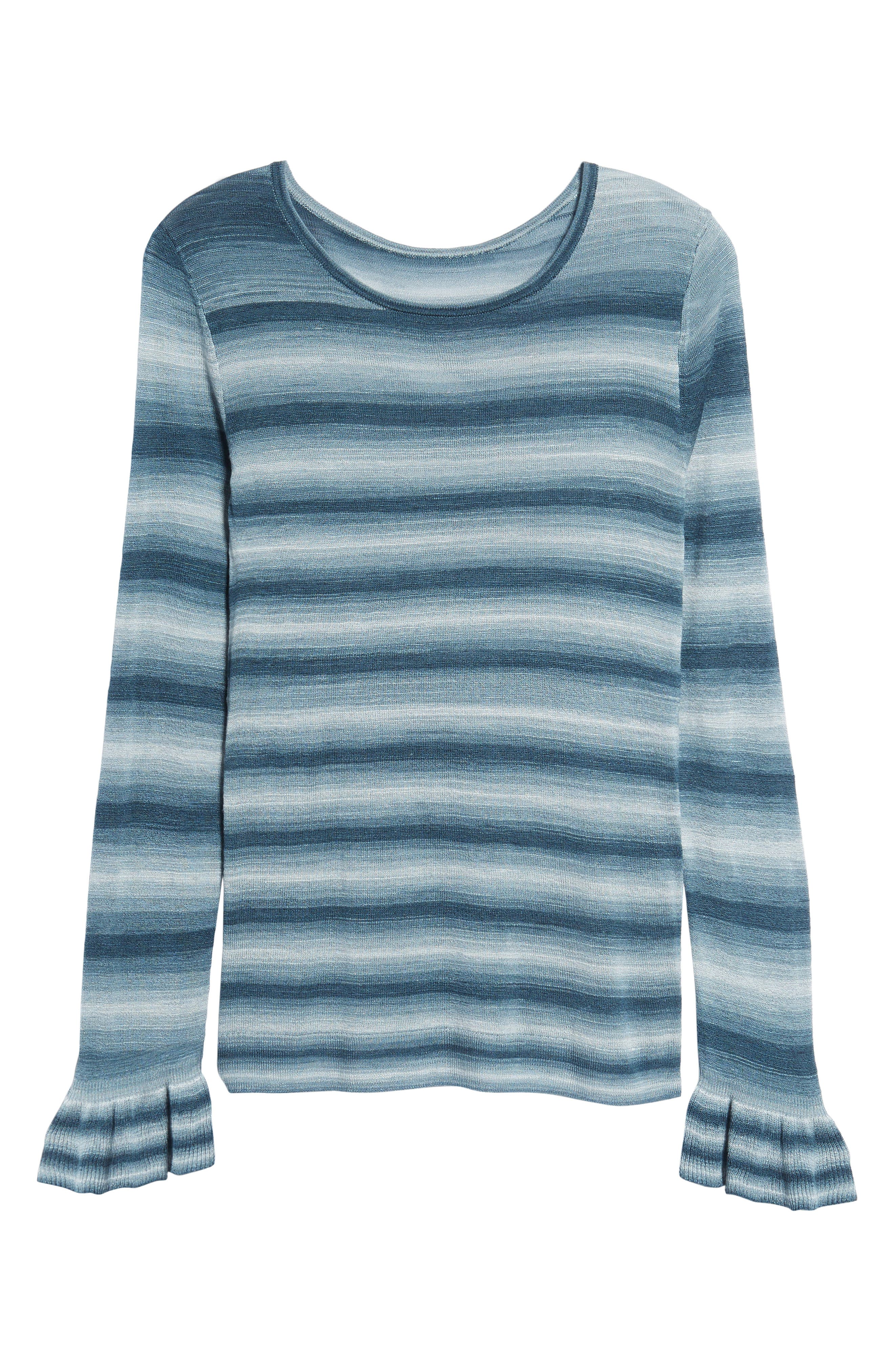 Gradient Stripe Sweater,                             Alternate thumbnail 6, color,                             Teal Abyss Combo