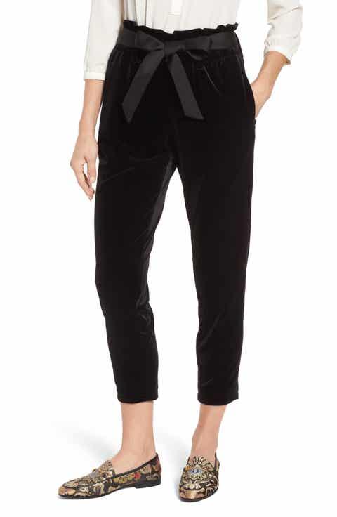 Halogen® Tie Waist Velvet Pants (Regular & Petite)