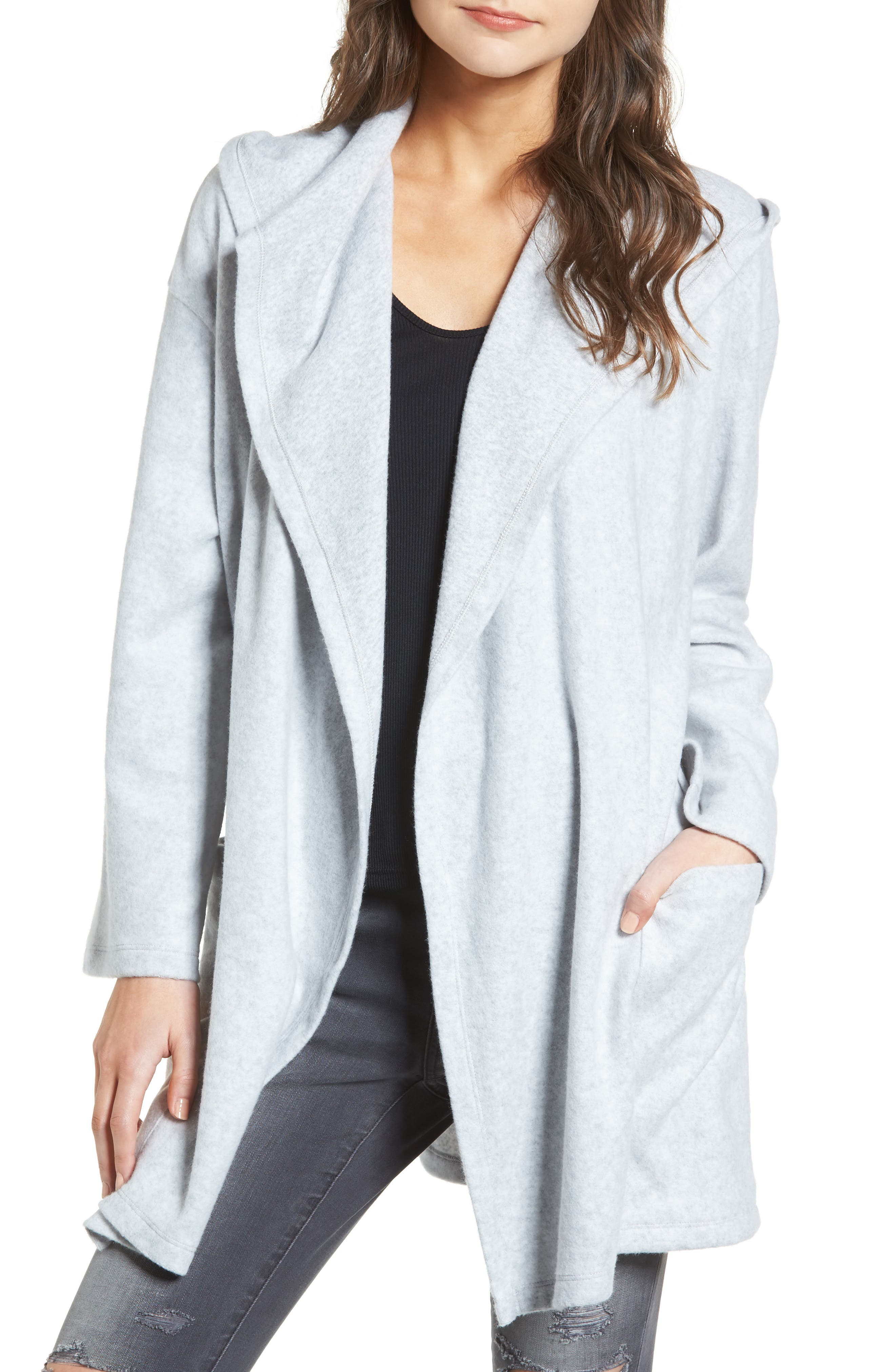 Hooded Open Front Cardigan,                         Main,                         color, Grey Light Heather