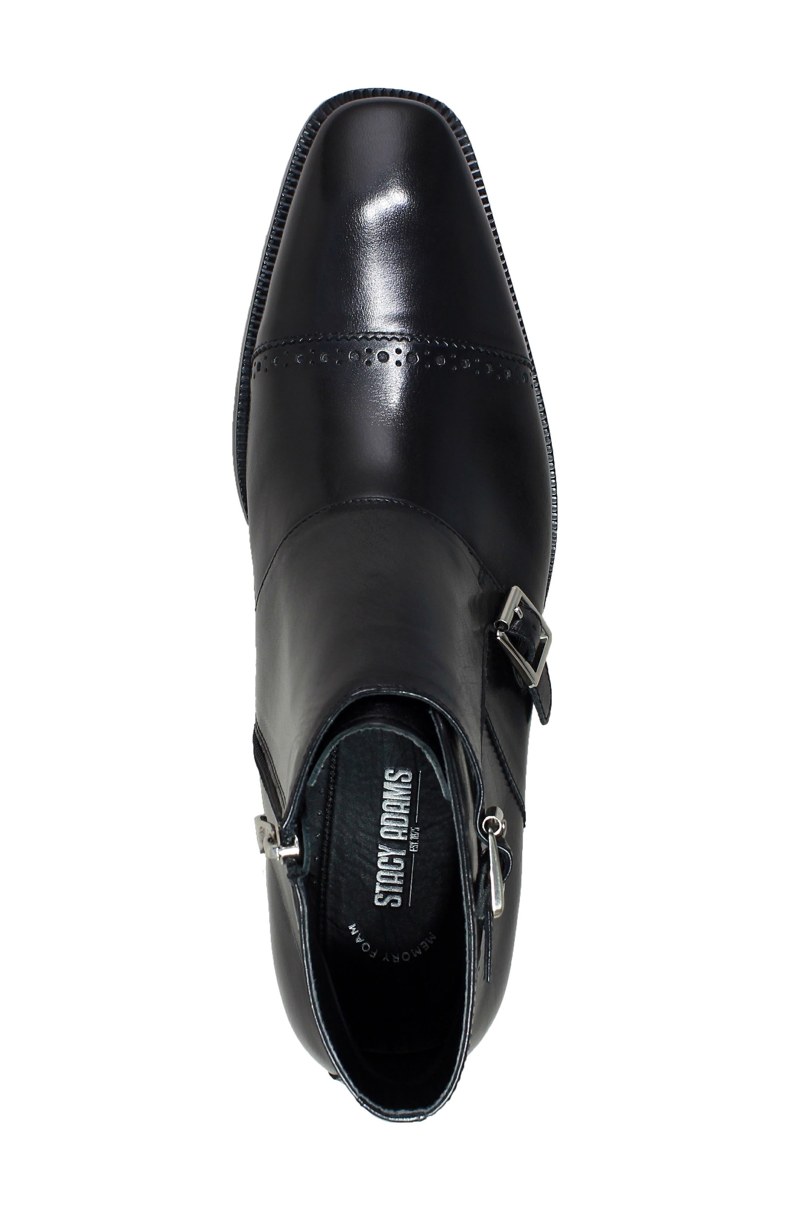 Kason Double Monk Strap Boot,                             Alternate thumbnail 4, color,                             Black Leather