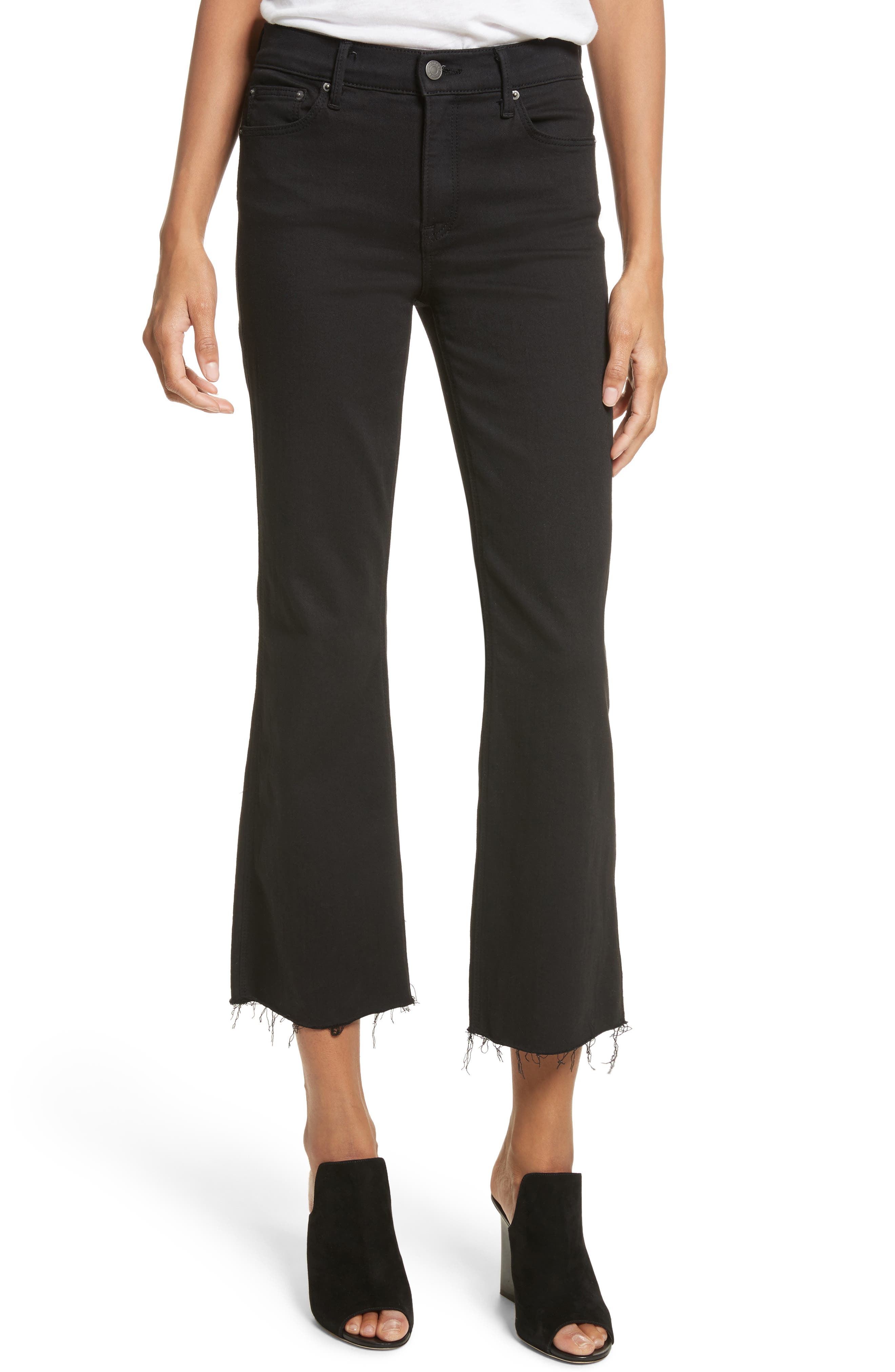 Joan Crop Flare Jeans,                             Main thumbnail 1, color,                             Black Magic Women G120