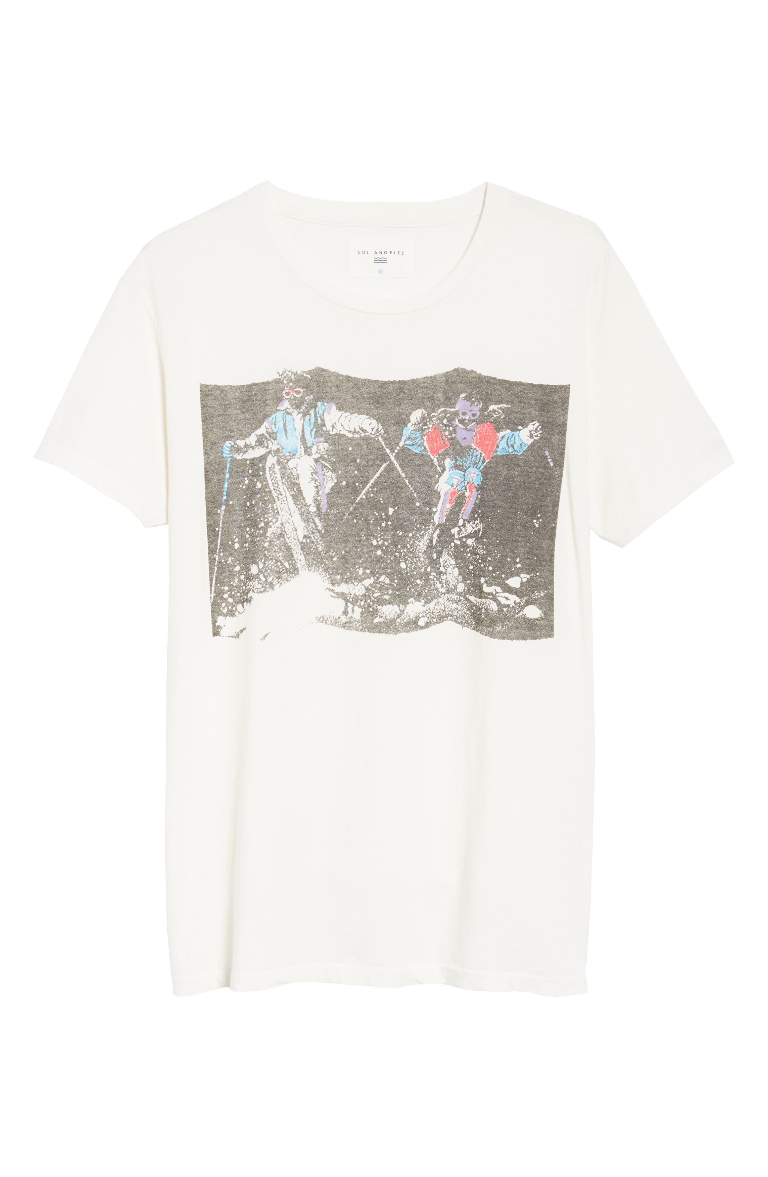 Pow Pow Crew Graphic T-Shirt,                             Alternate thumbnail 6, color,                             Dirty White