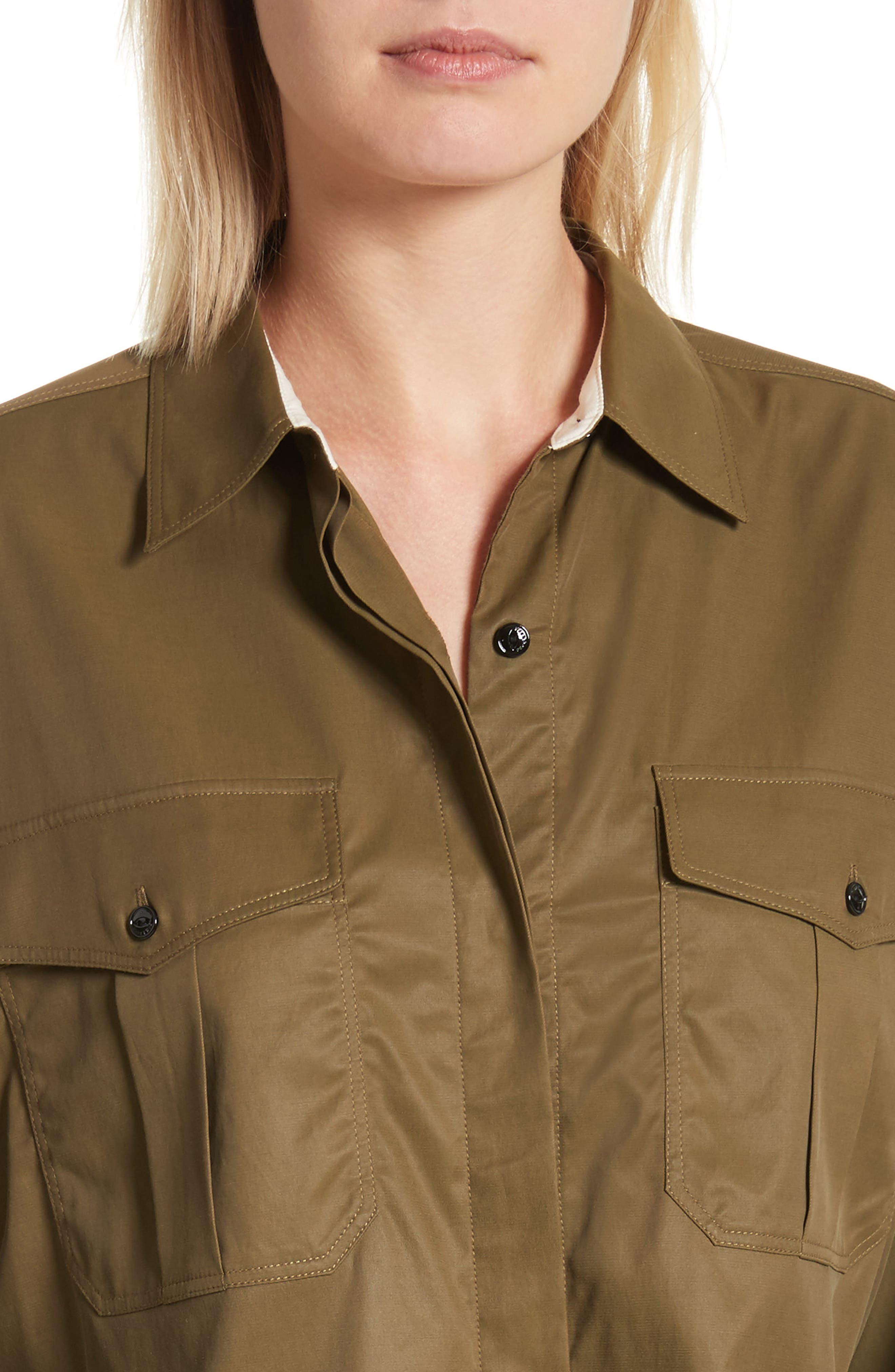 Mason Crop Shirt,                             Alternate thumbnail 4, color,                             Army Green