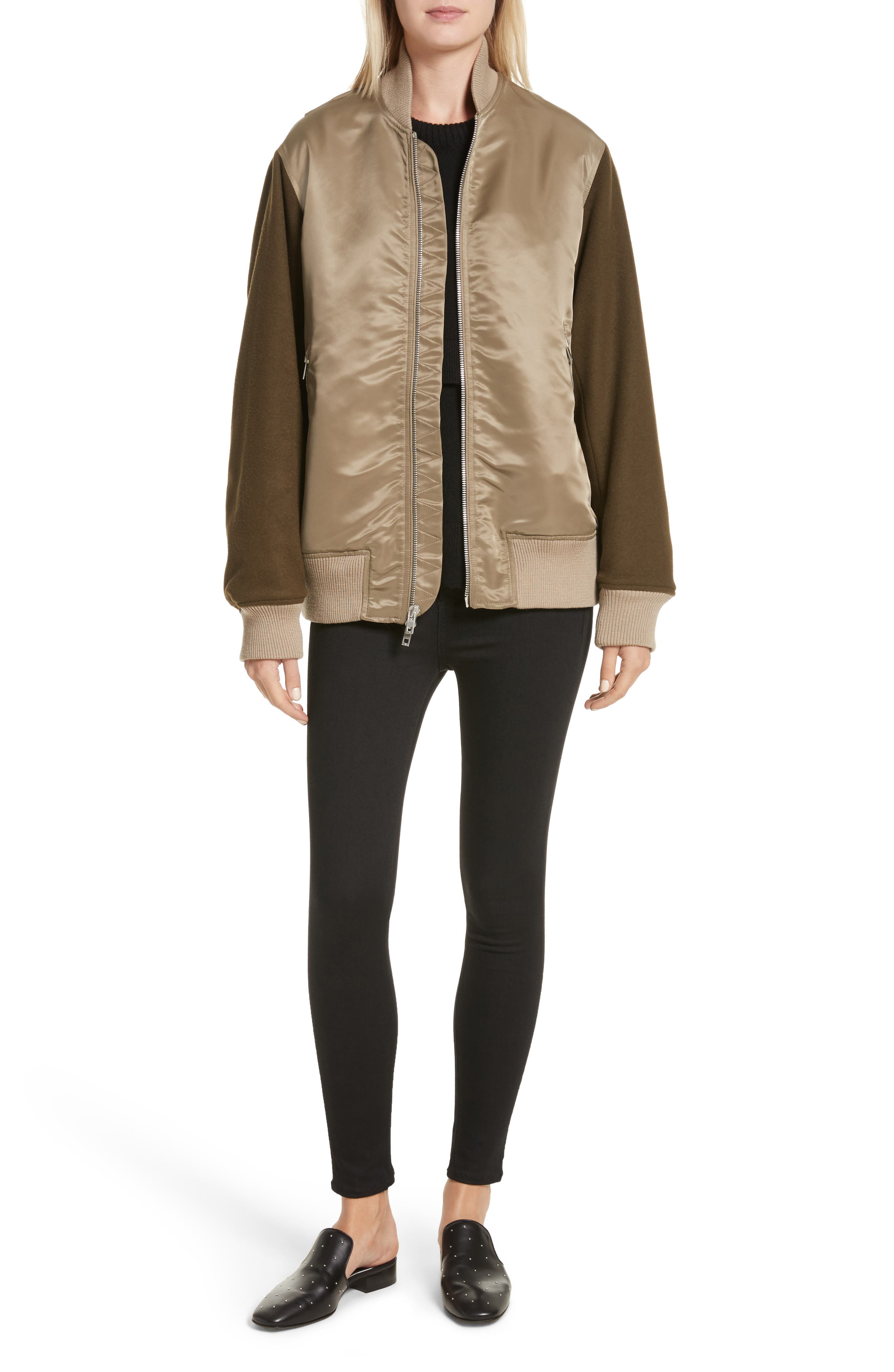Elle Mixed Media Bomber Jacket,                             Alternate thumbnail 2, color,                             Army Green