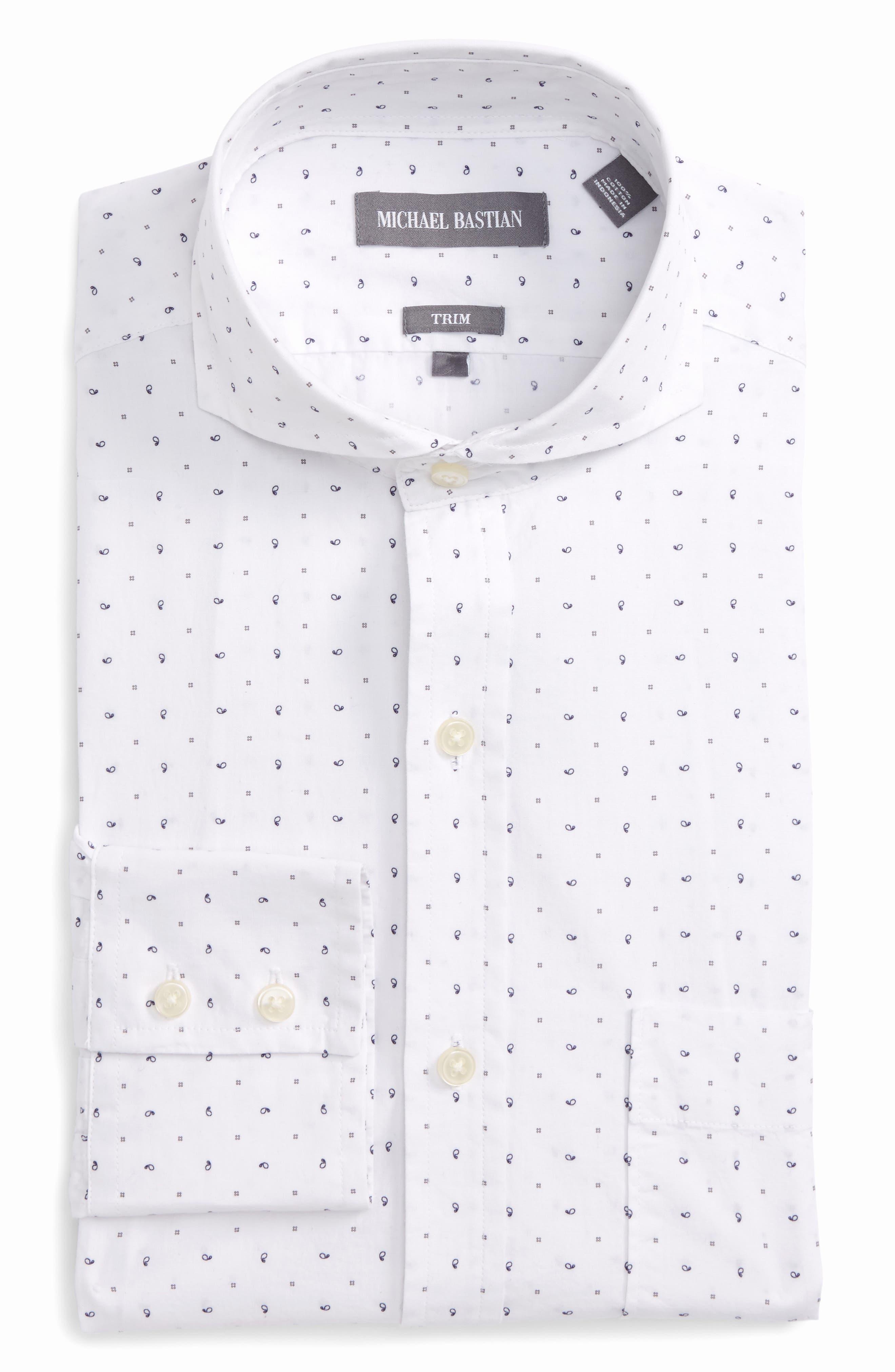 Trim Fit Print Dress Shirt,                         Main,                         color, White/ Blue