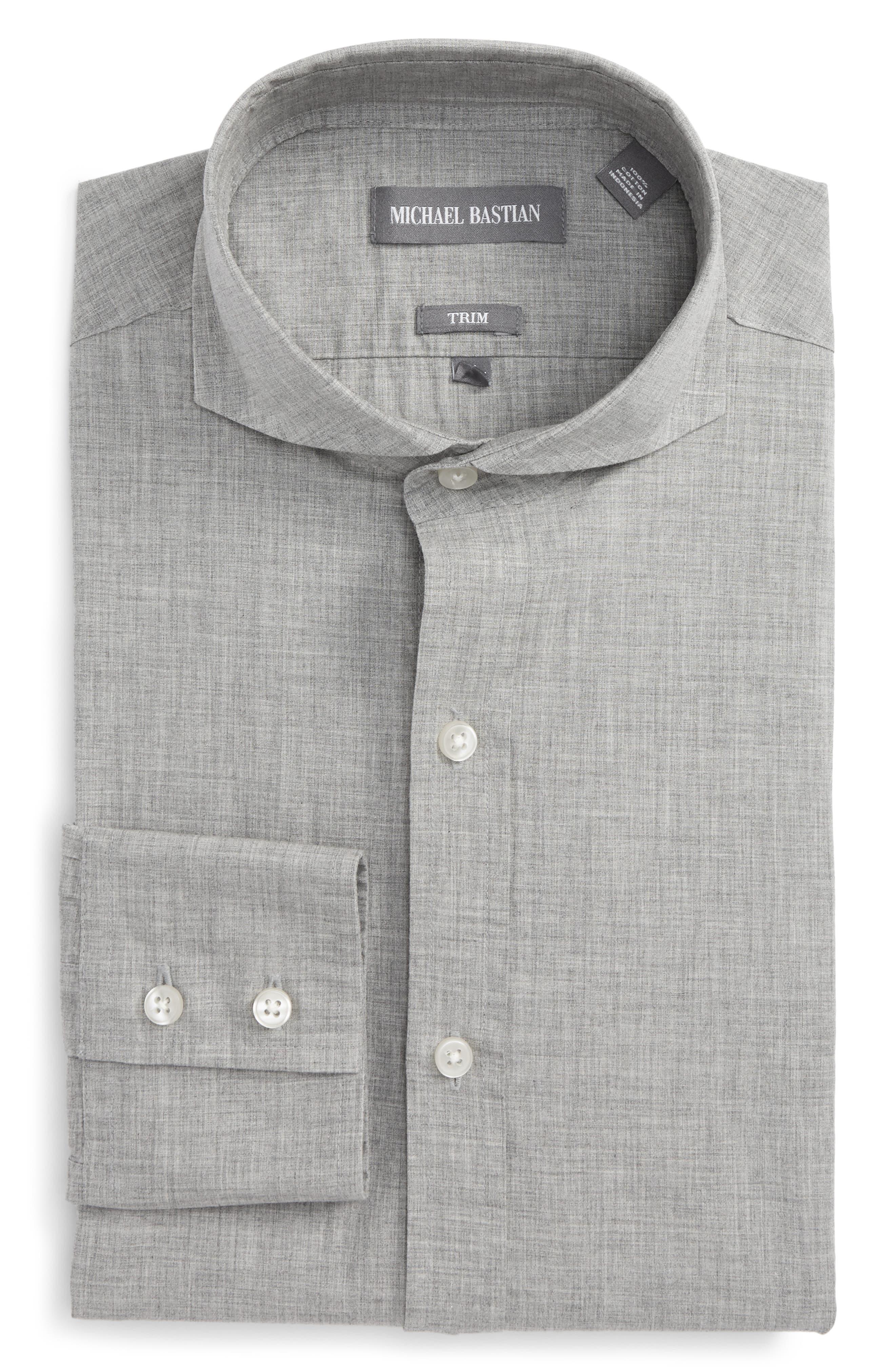 Trim Fit Dress Shirt,                         Main,                         color, Grey