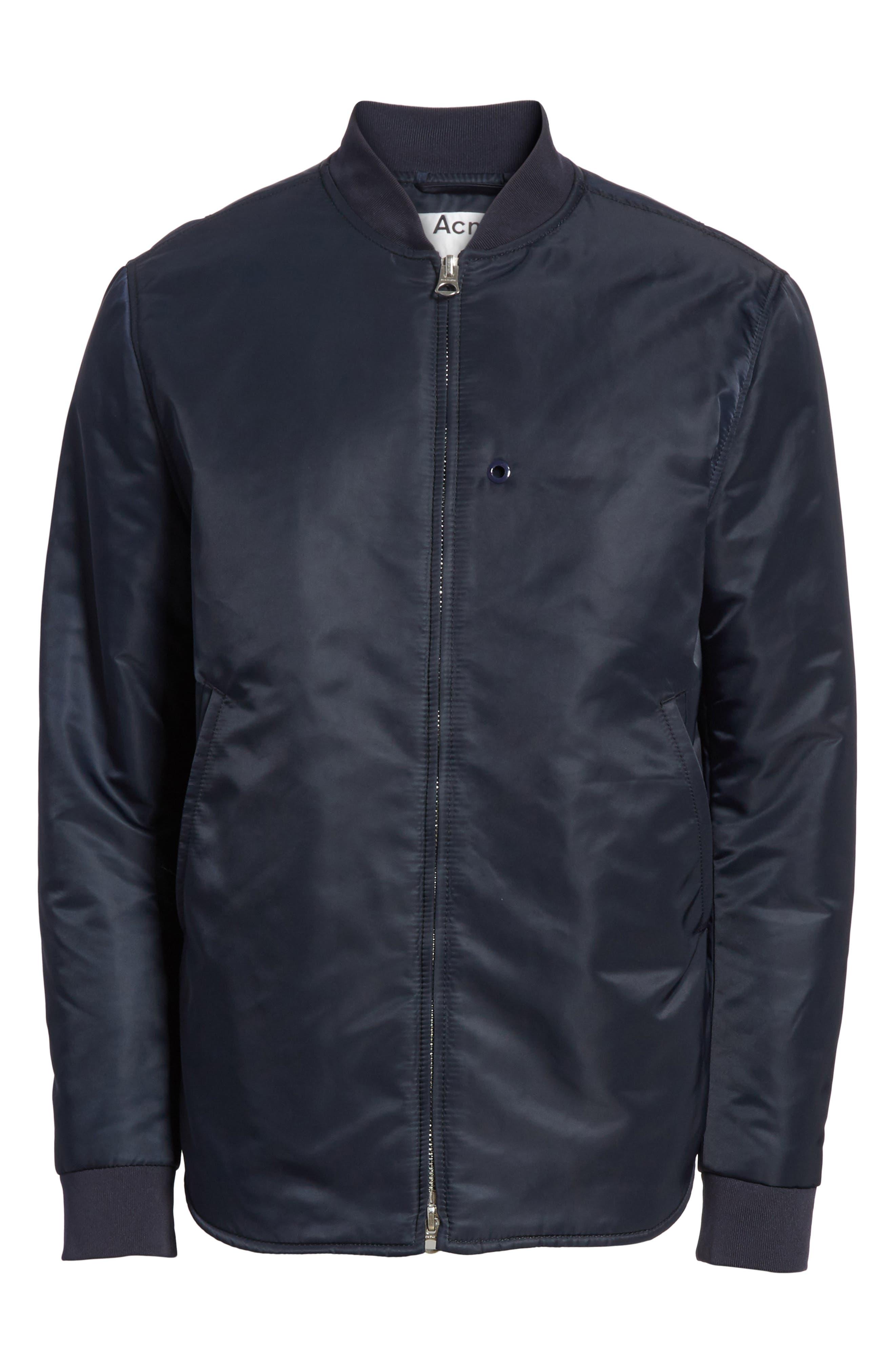Nylon Bomber Jacket,                             Alternate thumbnail 6, color,                             Steel Blue