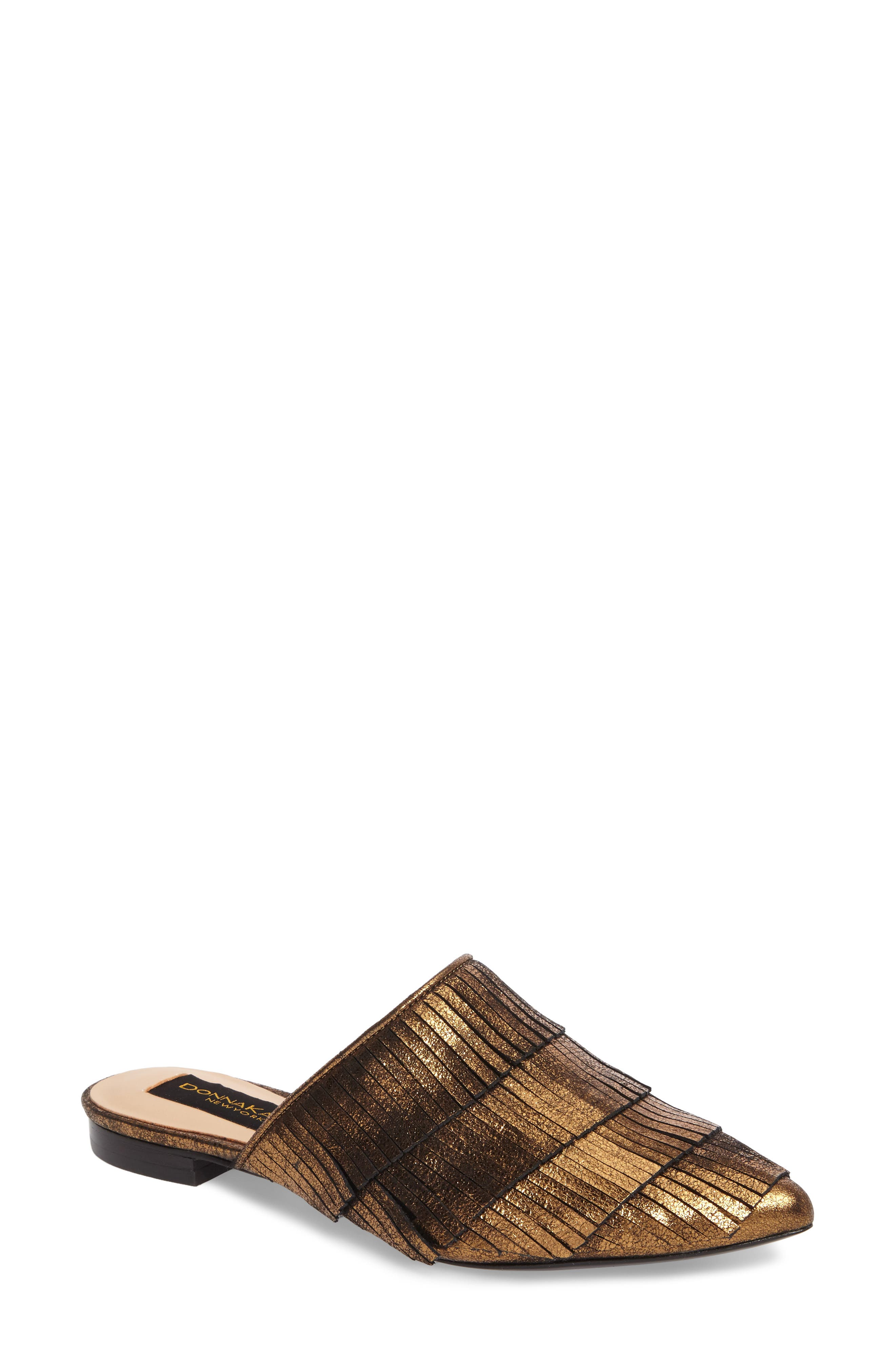 Donna Karan Paisley Fringe Mule,                             Main thumbnail 1, color,                             Brass Leather