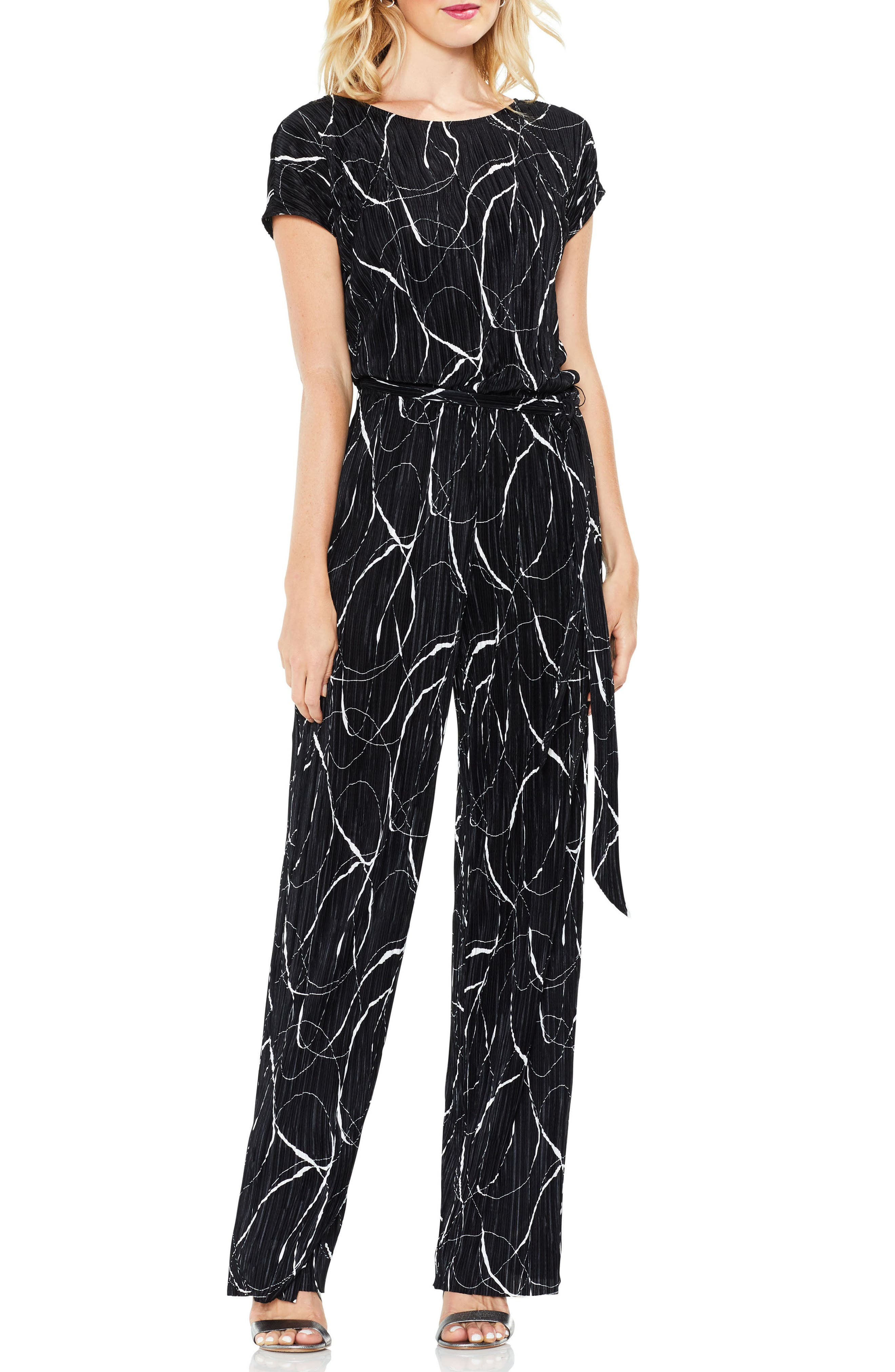 Main Image - Vince Camuto Ink Swirl Pleat Knit Jumpsuit