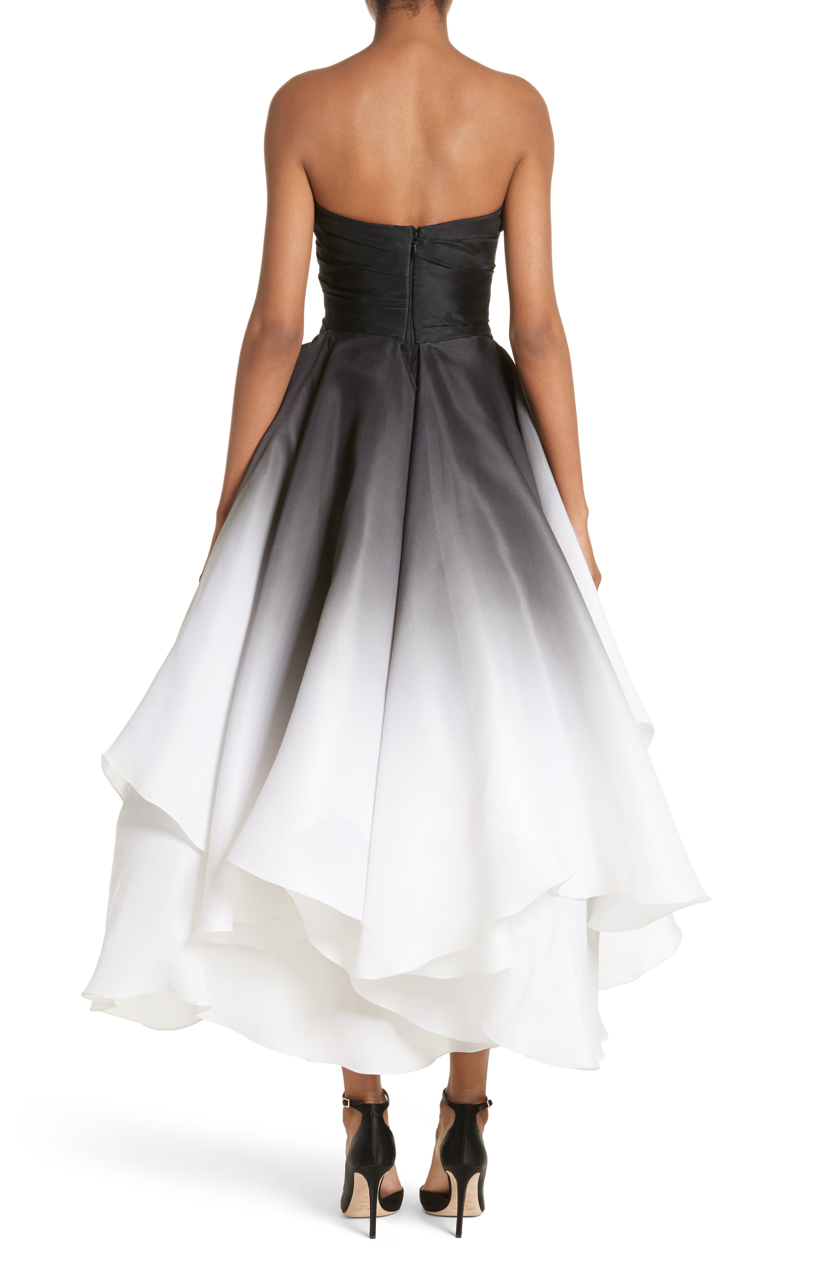 Ombré Strapless Tea Length Dress,                             Alternate thumbnail 3, color,                             Black/ White