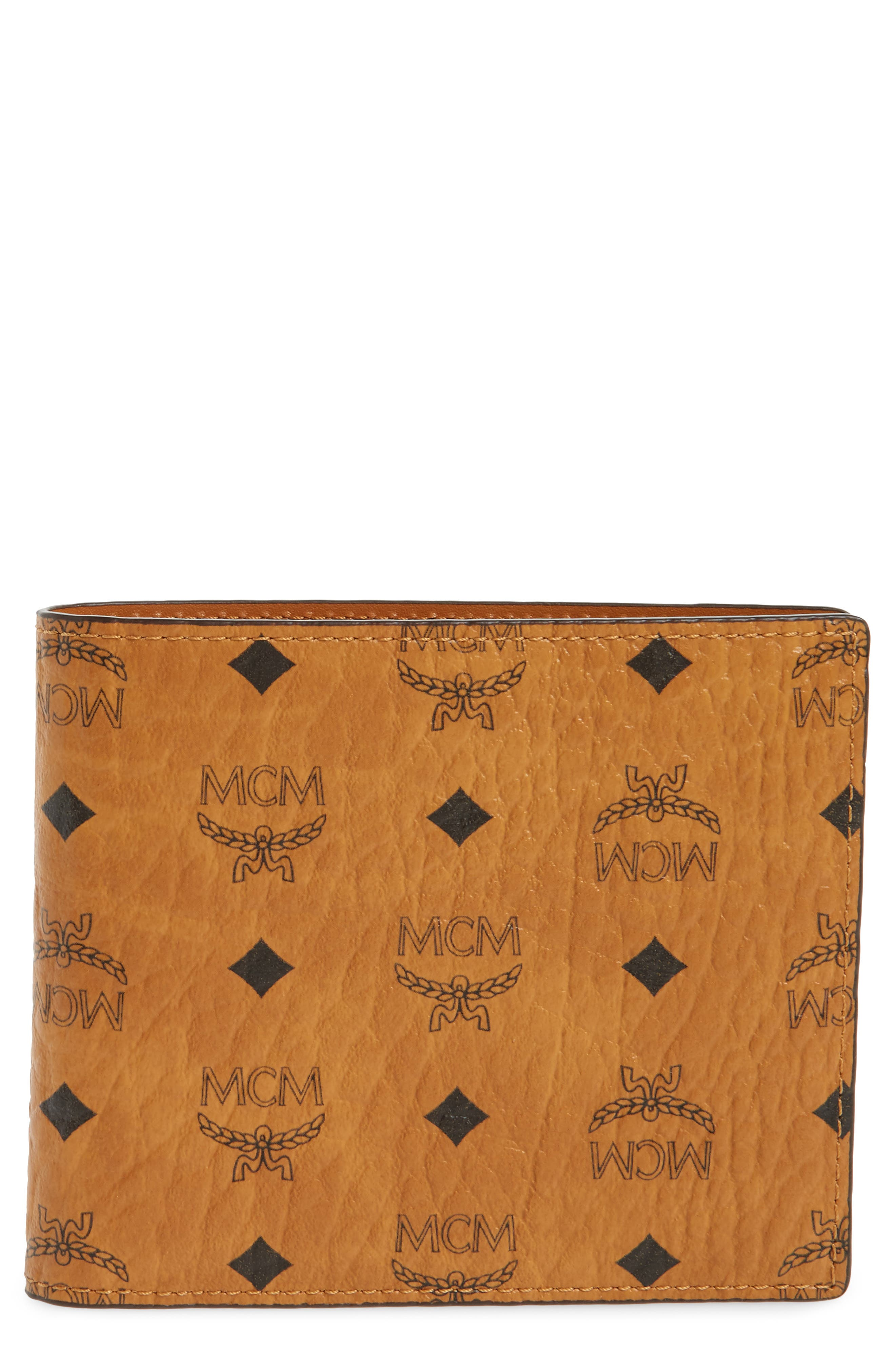 Logo Coated Canvas & Leather Wallet,                             Main thumbnail 1, color,                             Cognac