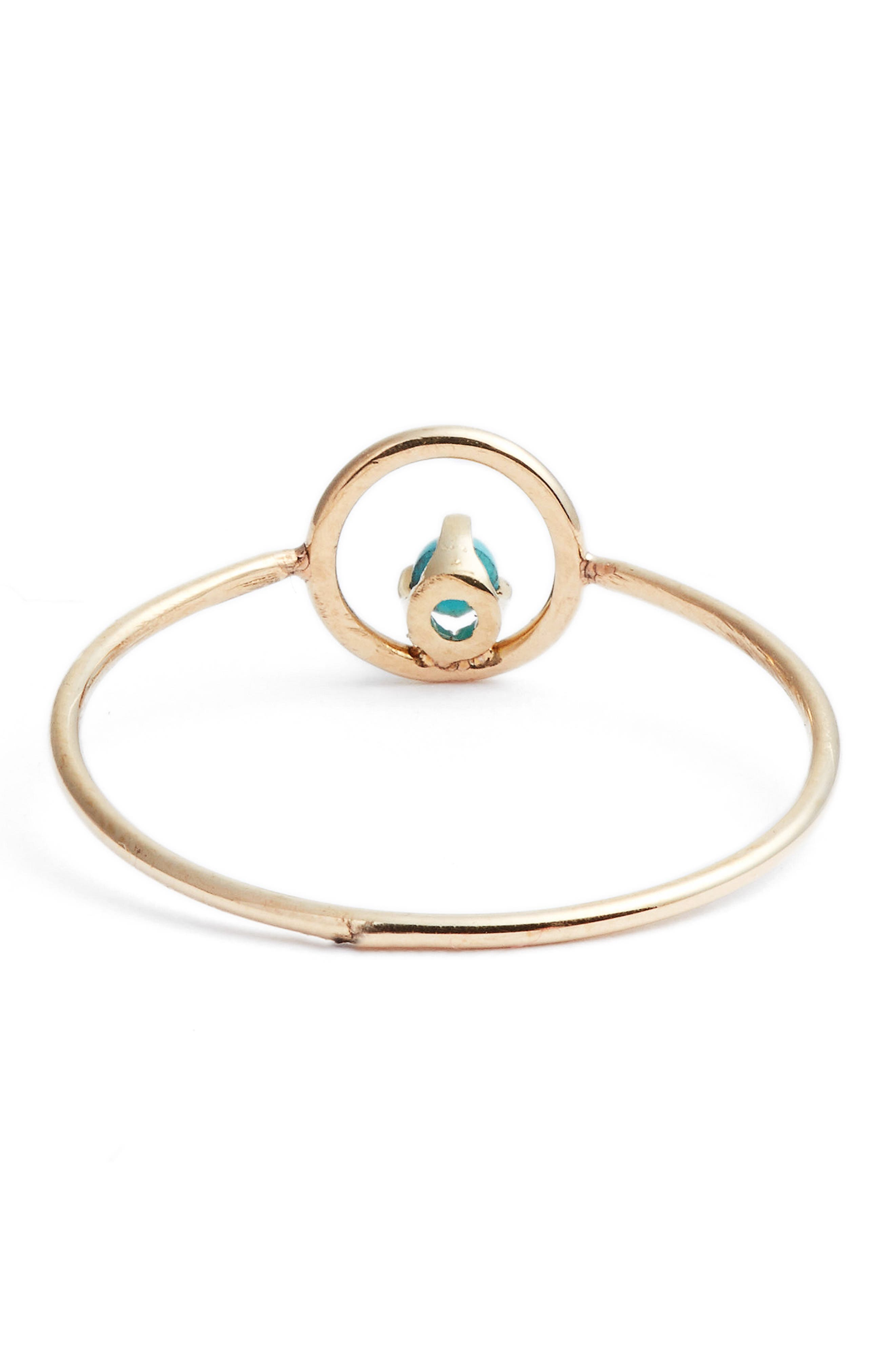 Turquoise Circle Ring,                             Alternate thumbnail 4, color,                             Yellow Gold/ Turquoise