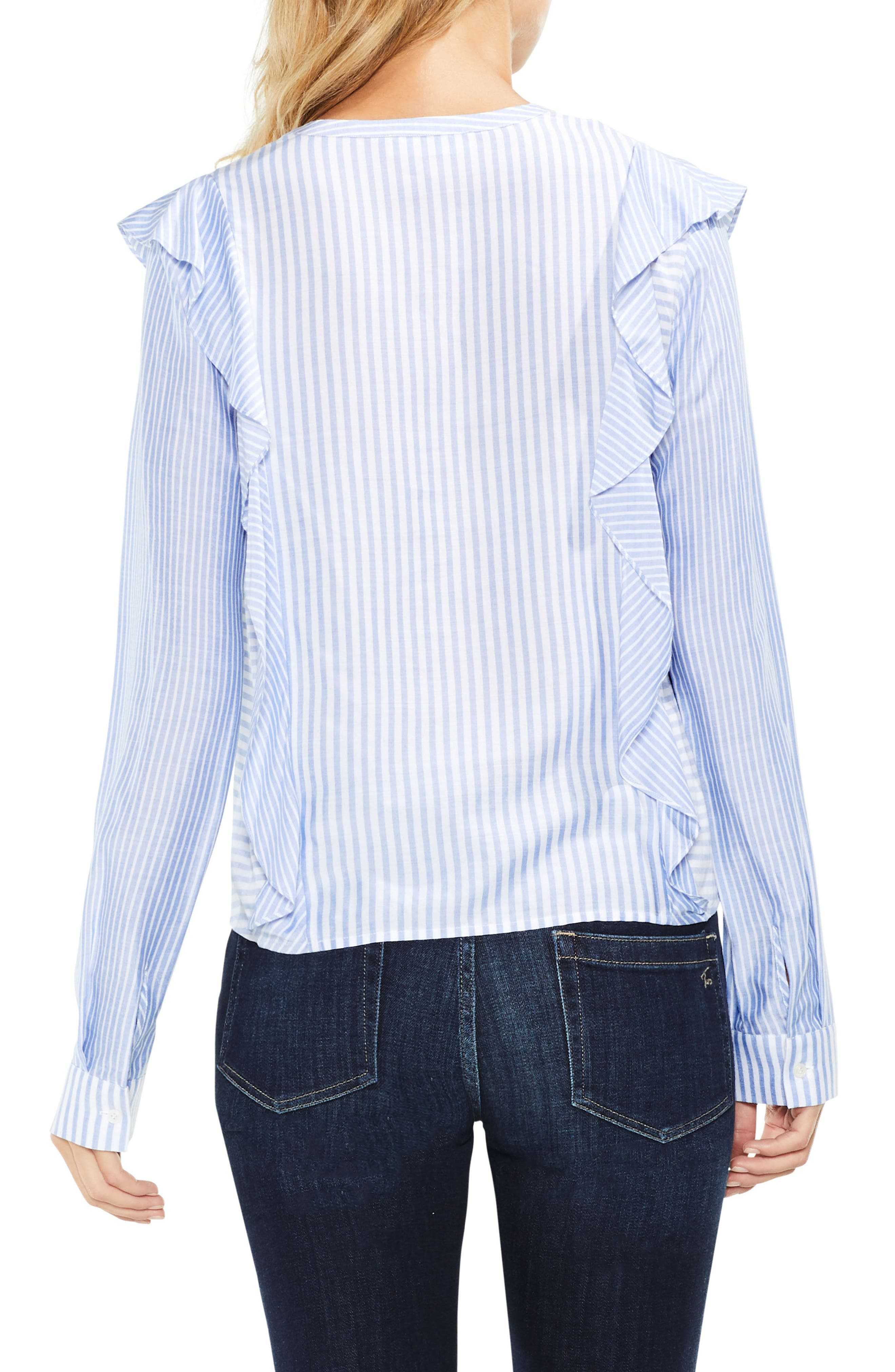 Alternate Image 2  - Two by Vince Camuto Mix Stripe Ruffle Top