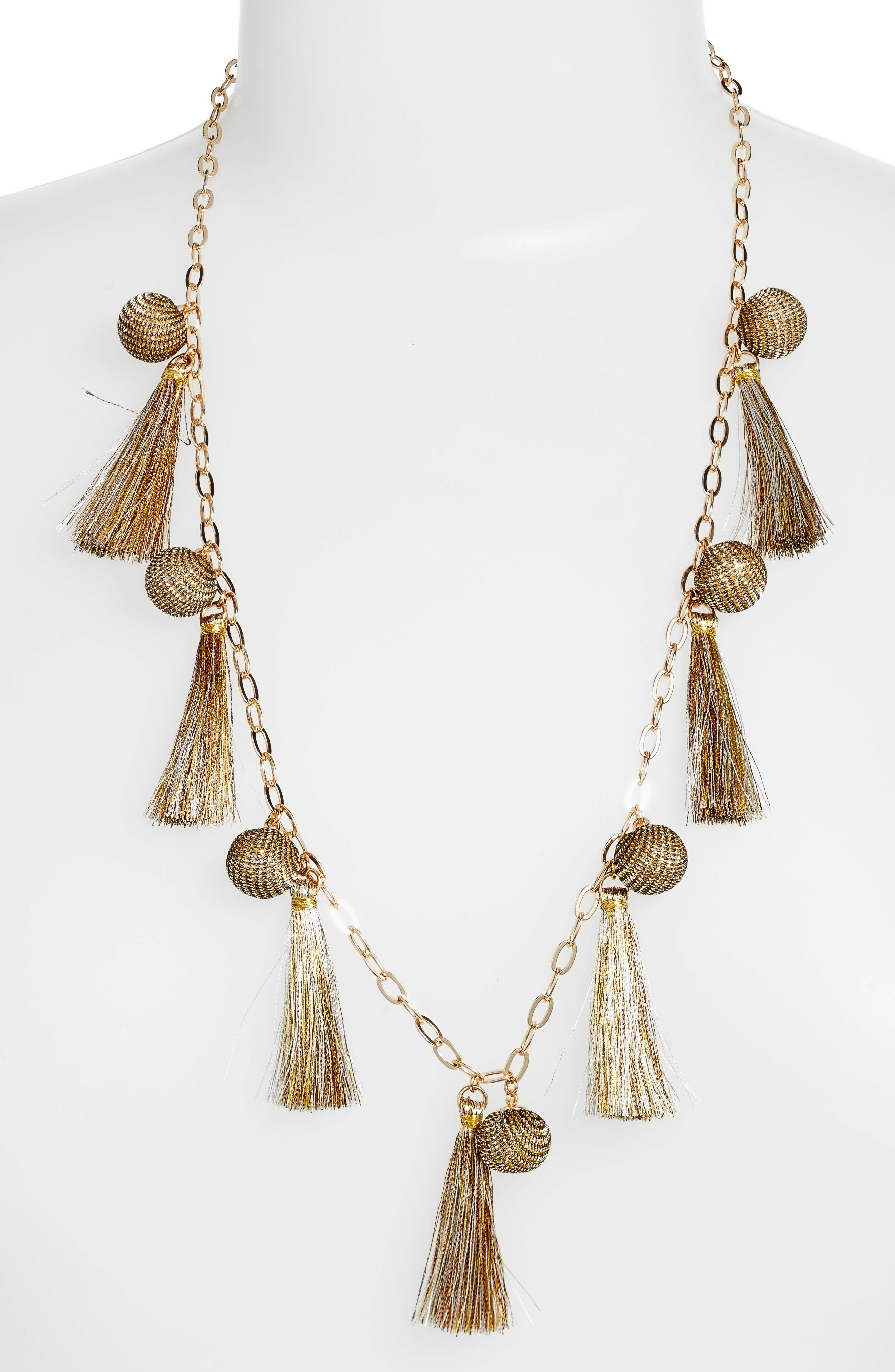 Metallic Pom & Tassel Necklace,                         Main,                         color, Gold