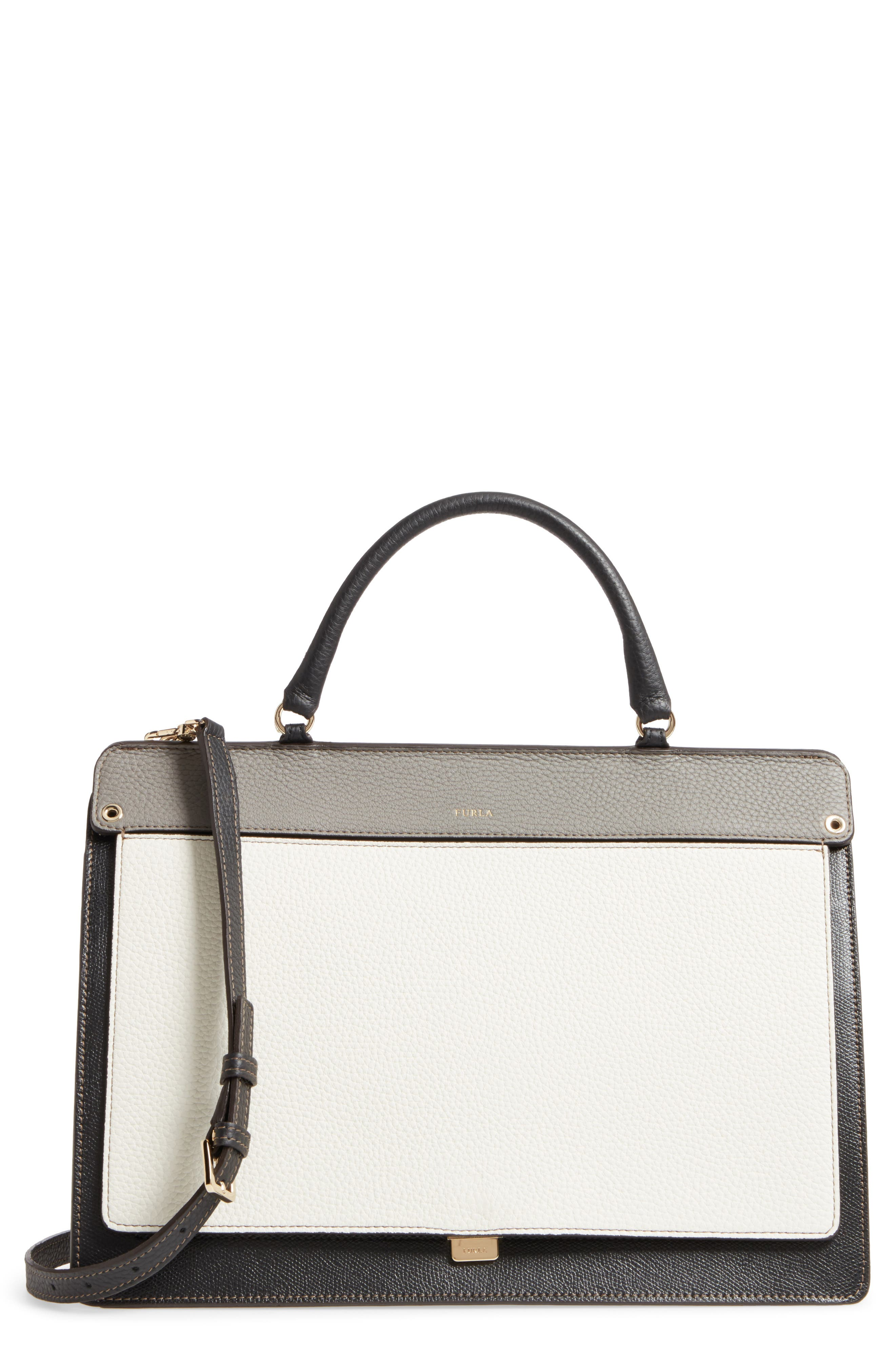 Like Leather Top Handle Satchel,                         Main,                         color, Onyx+Petalo+Argilla+Onyx
