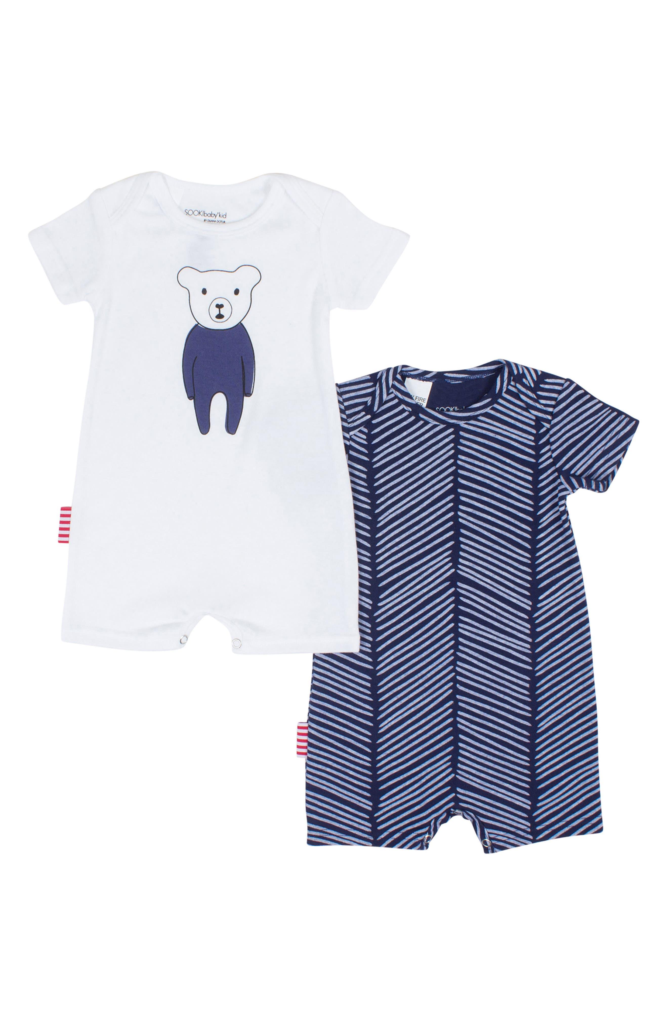 SOOKIbaby Beary Nice 2-Pack Rompers (Baby Boys)