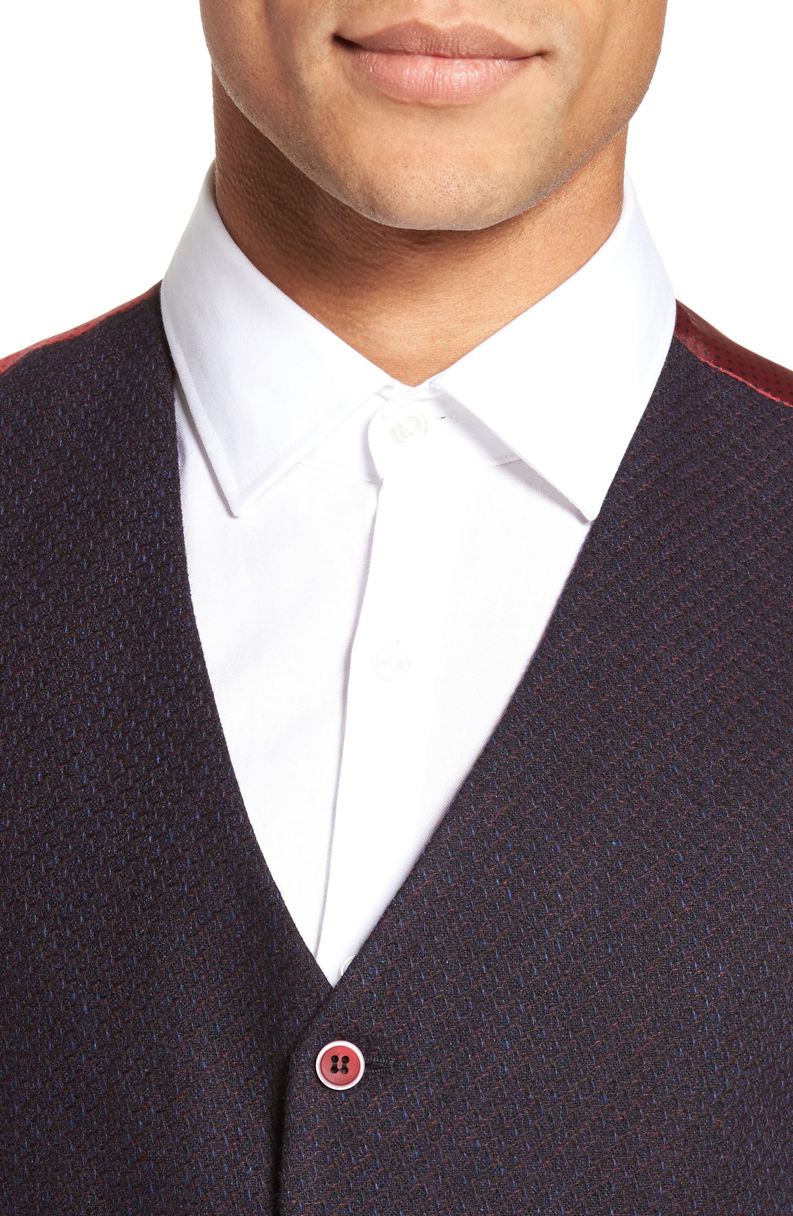 Textured Wool Blend Vest,                             Alternate thumbnail 4, color,                             Burgundy