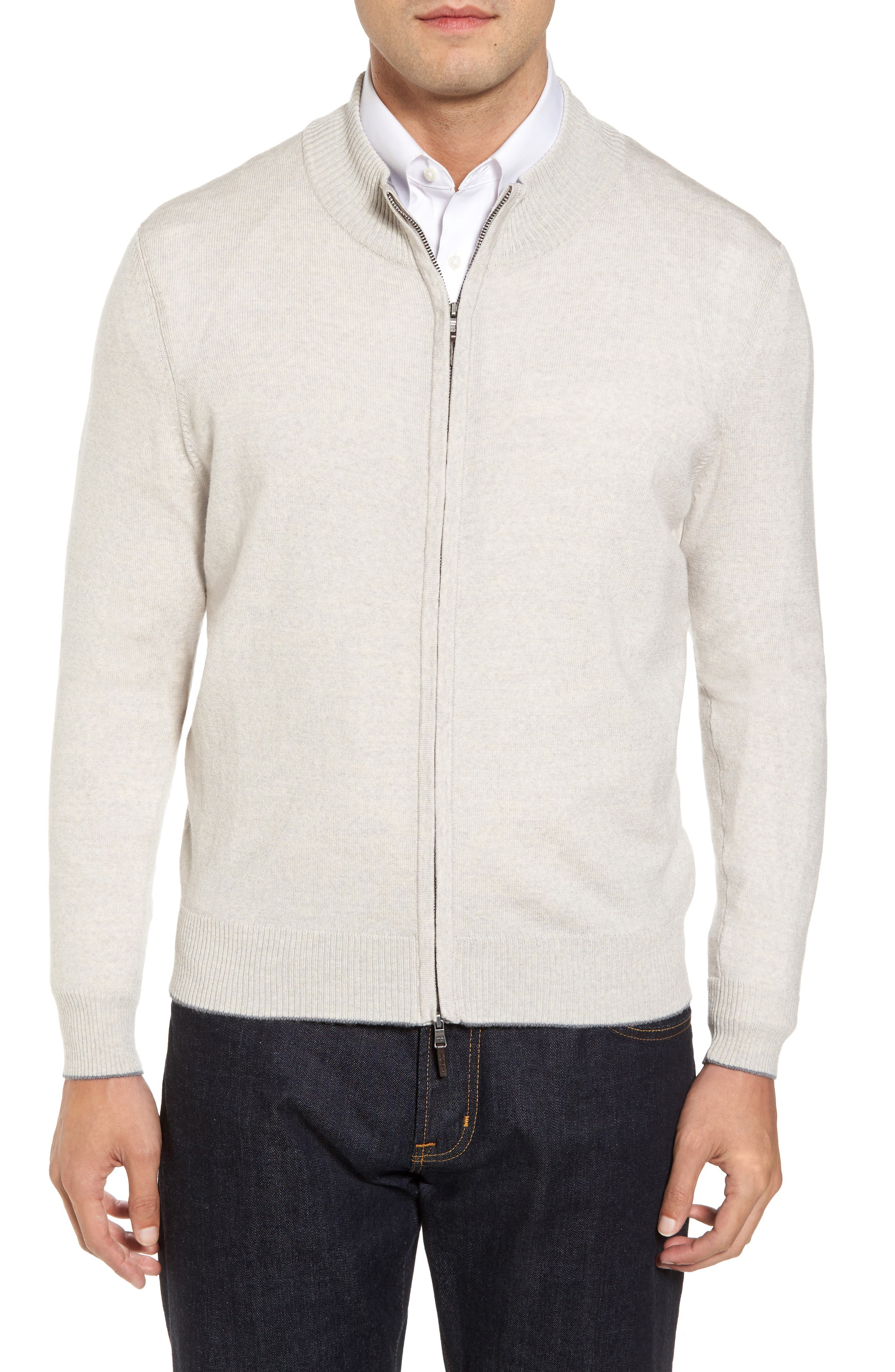 Merino Blend Full Zip Cardigan,                         Main,                         color, Light Grey