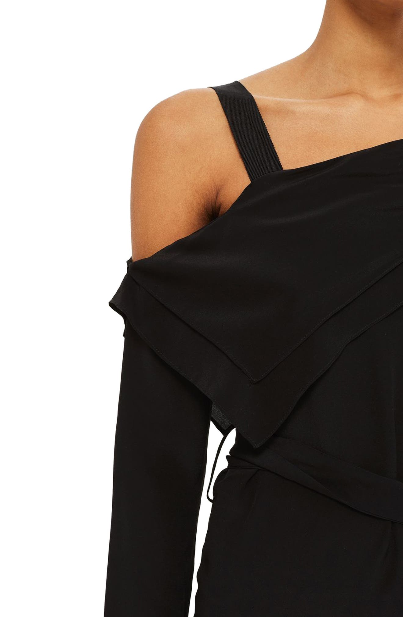Off the Shoulder Silk Drape Dress,                             Alternate thumbnail 4, color,                             Black