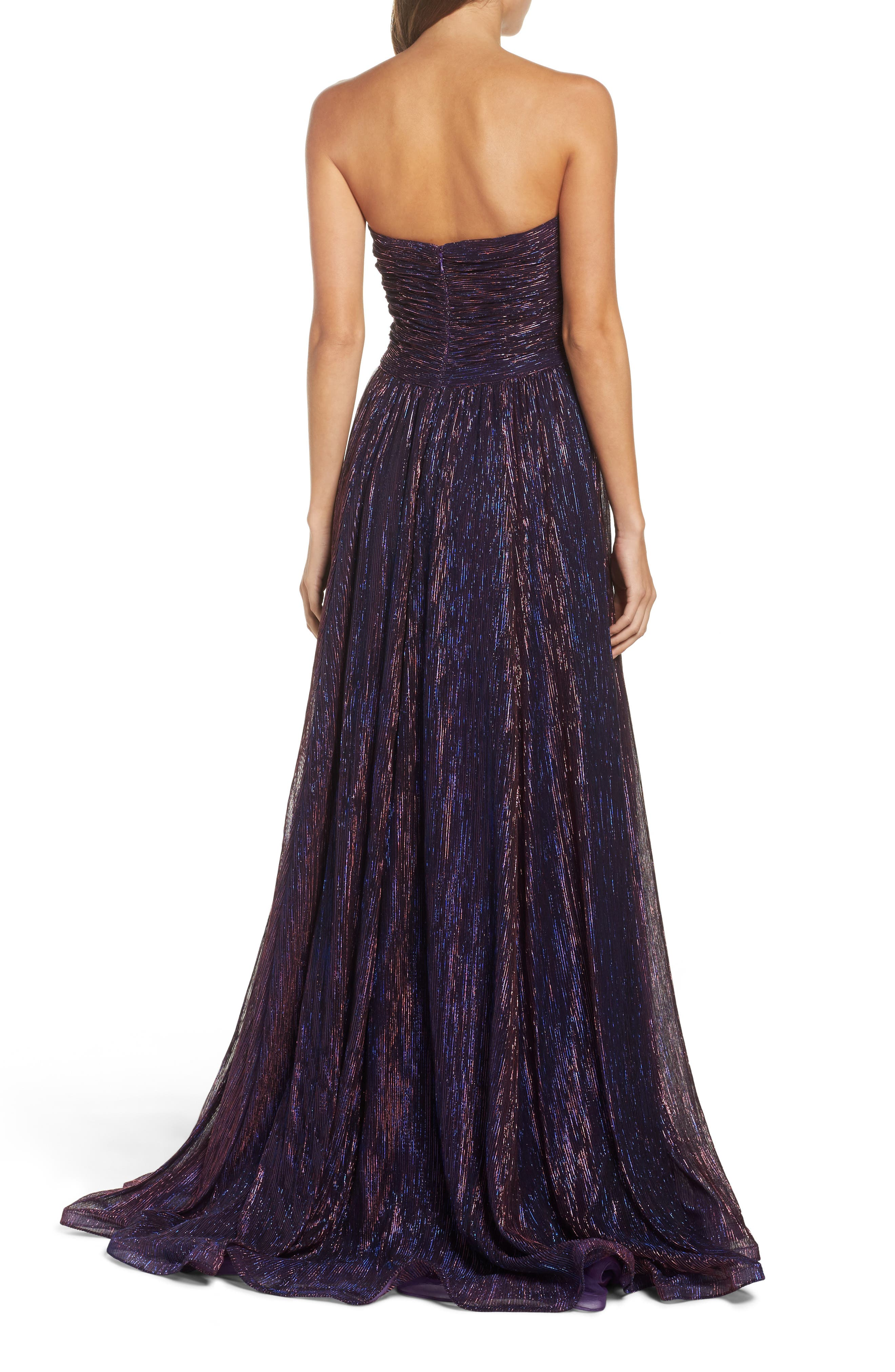 Metallic Strapless A-Line Gown,                             Alternate thumbnail 3, color,                             Purple/ Multi