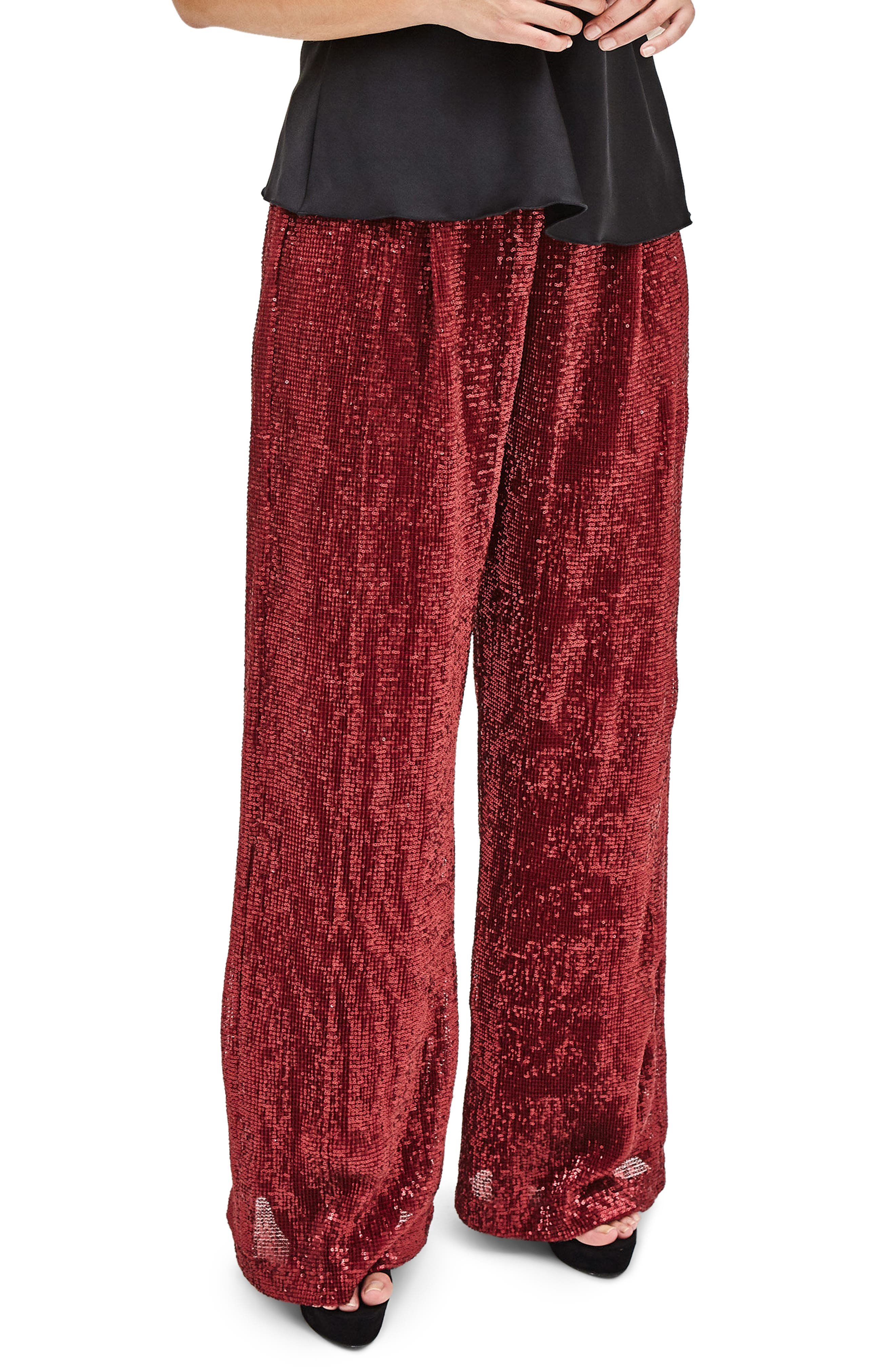 Red Sequin Trousers,                         Main,                         color, Red