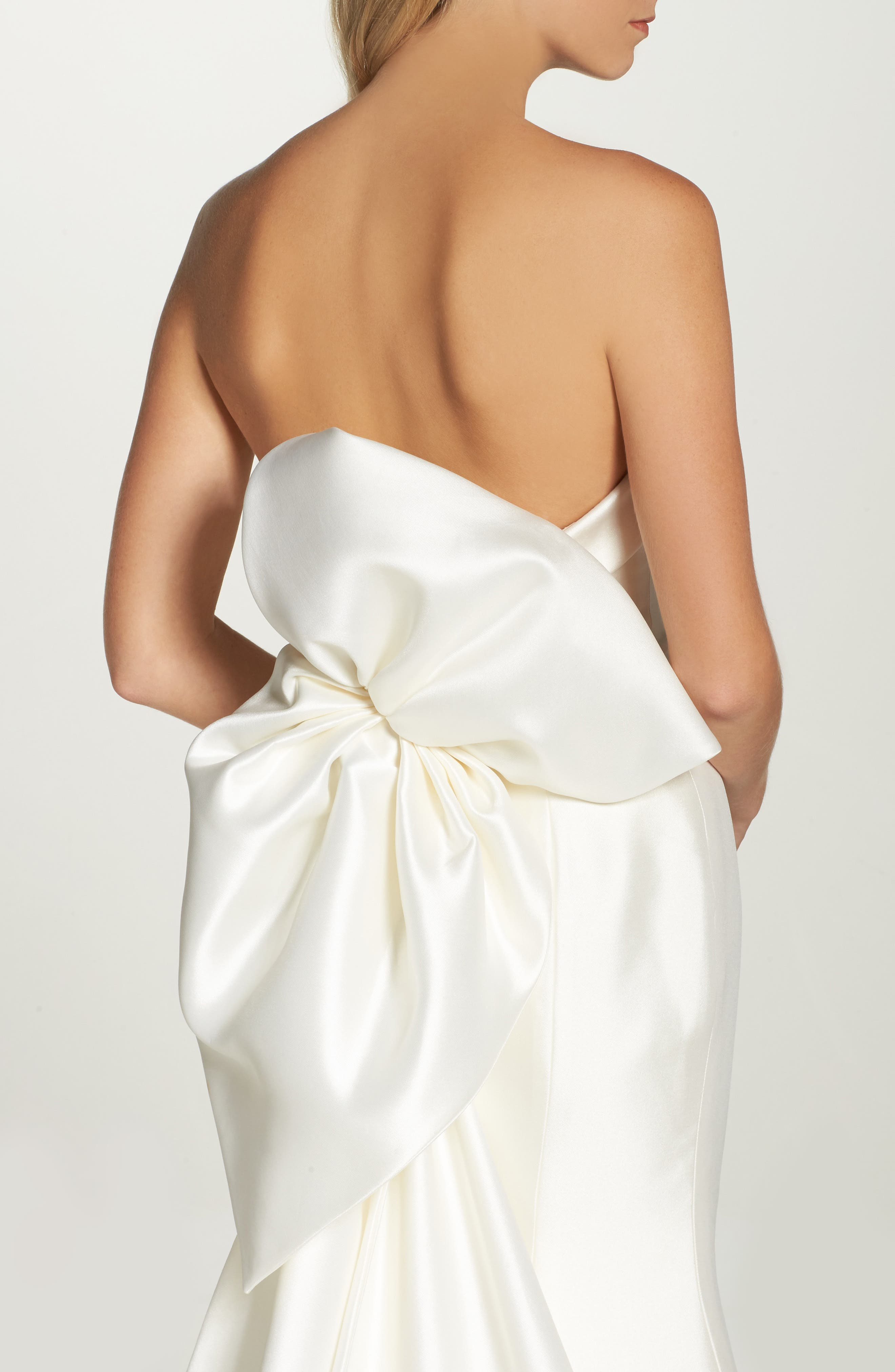 Peony Strapless Mikado Trumpet Gown with Bow Train,                             Alternate thumbnail 2, color,                             Ivory