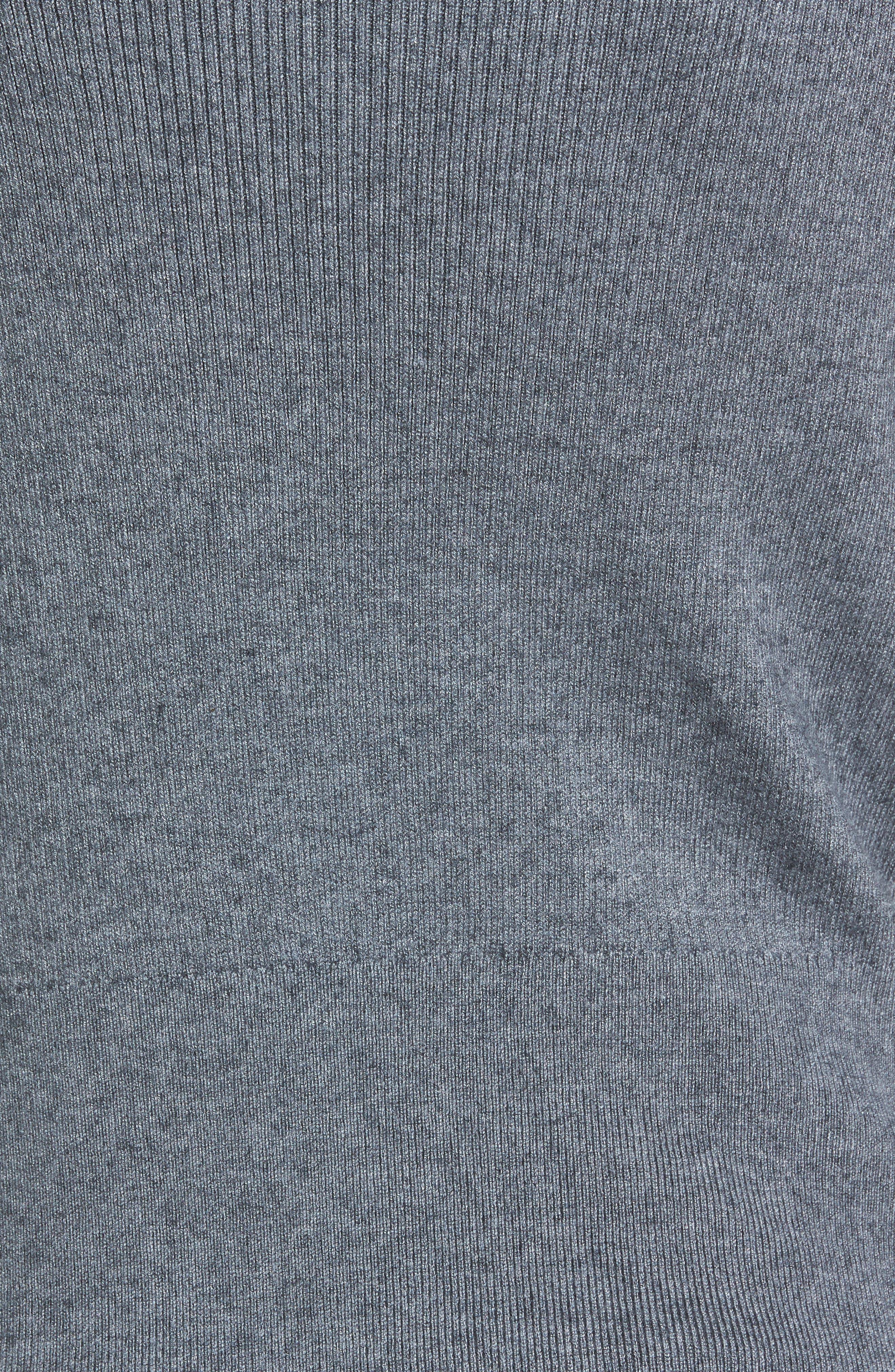 Wide Collar Zip Sweater,                             Alternate thumbnail 5, color,                             Grey Dark Heather