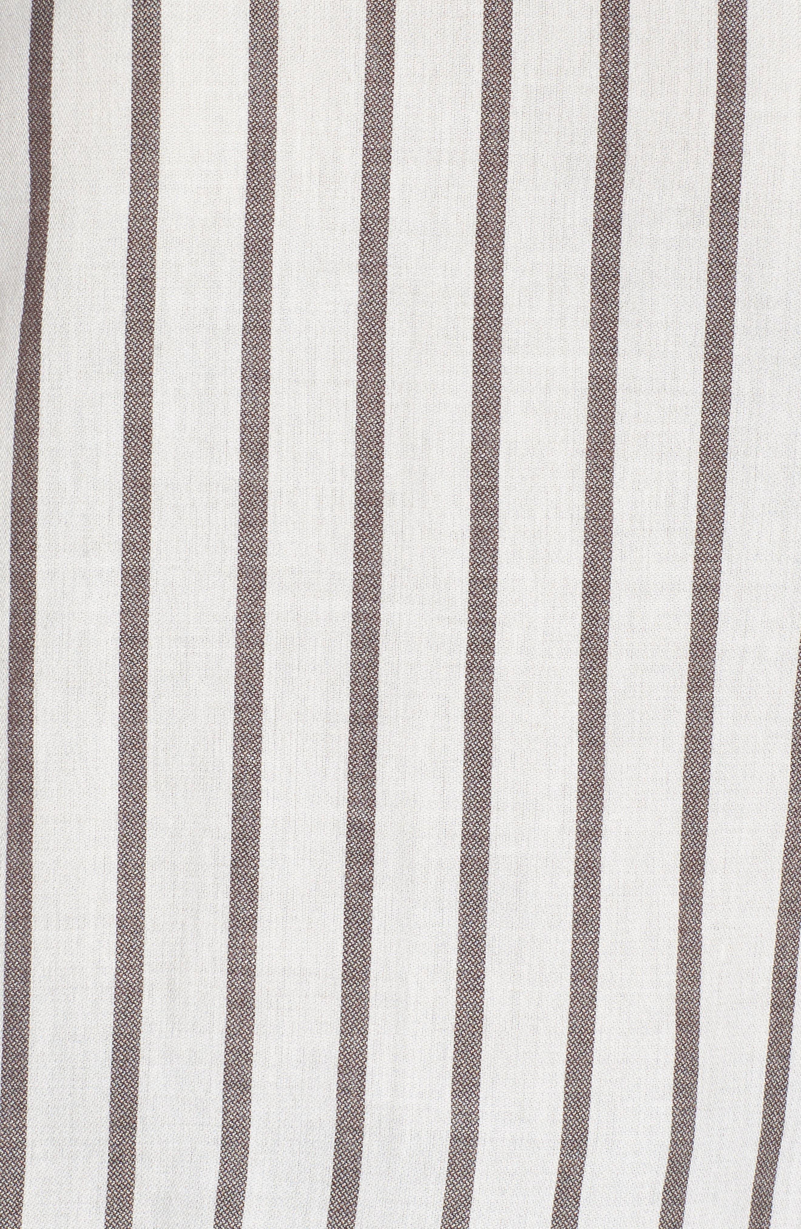 Ruffle Shoulder Flare Cuff Shirt,                             Alternate thumbnail 5, color,                             Ivory Egret Emmy Stripe