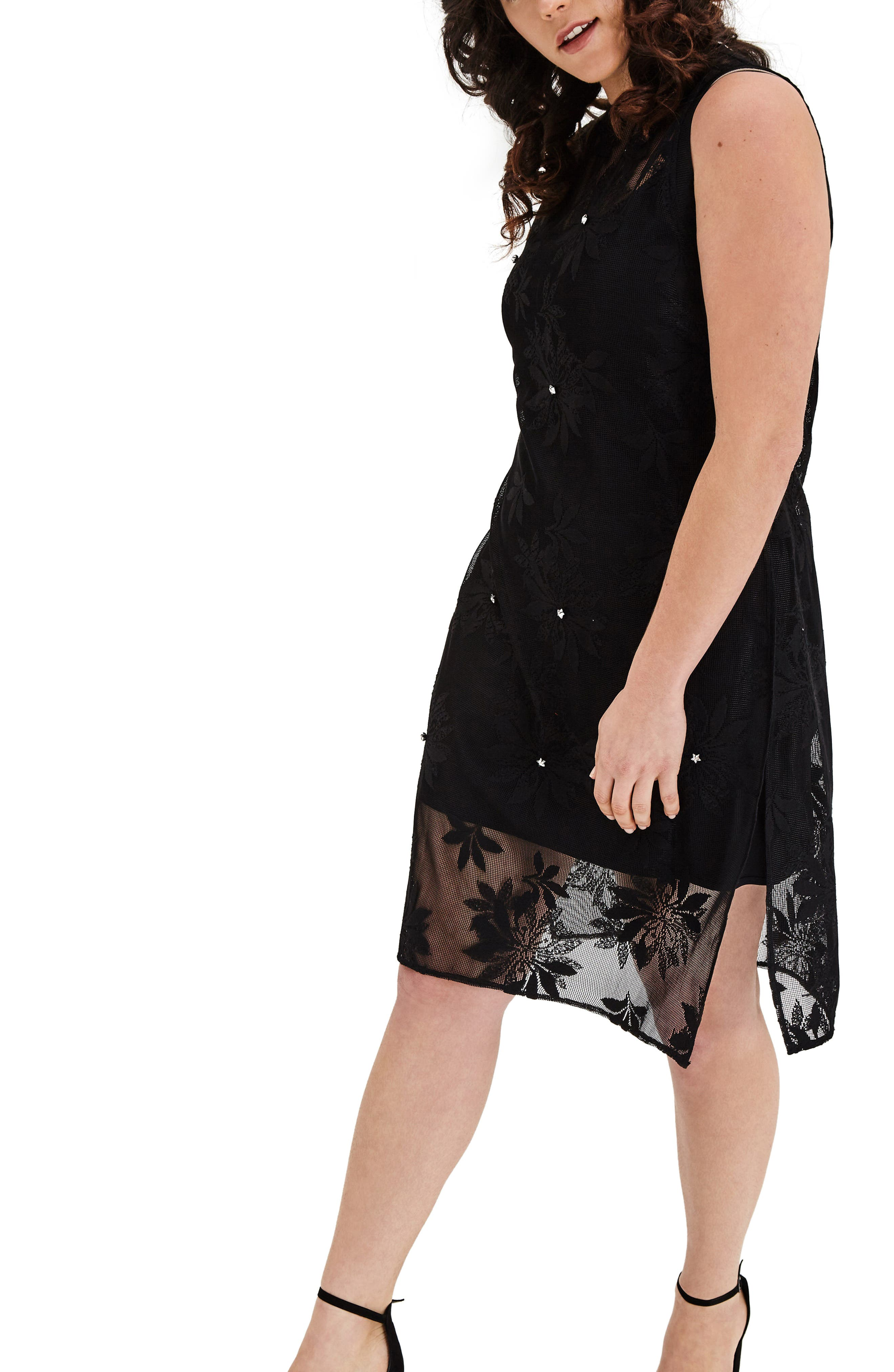 Alternate Image 3  - ELVI Floral Lace Tunic Dress (Plus Size)