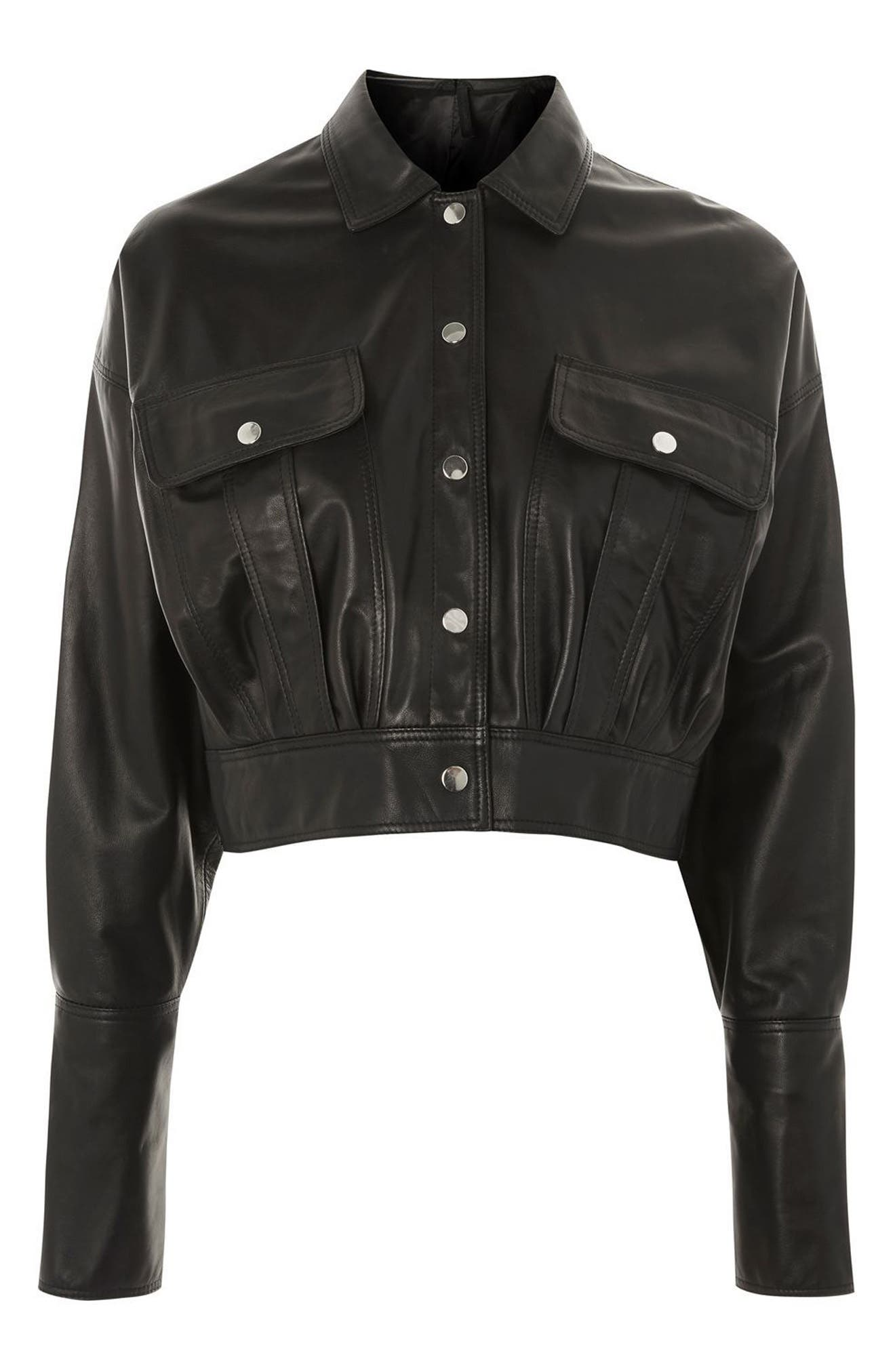 Topshop Boutique Crop Leather Jacket