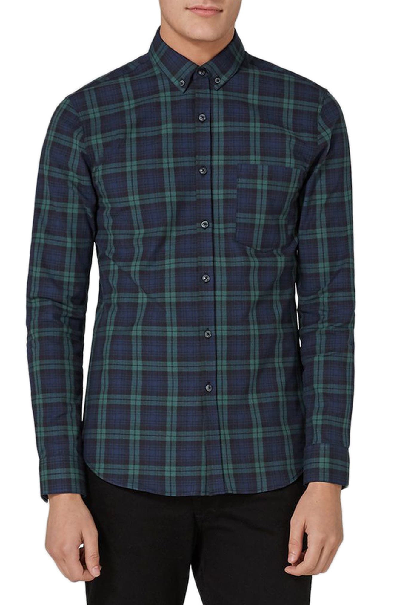 Topman Muscle Fit Black Watch Plaid Shirt