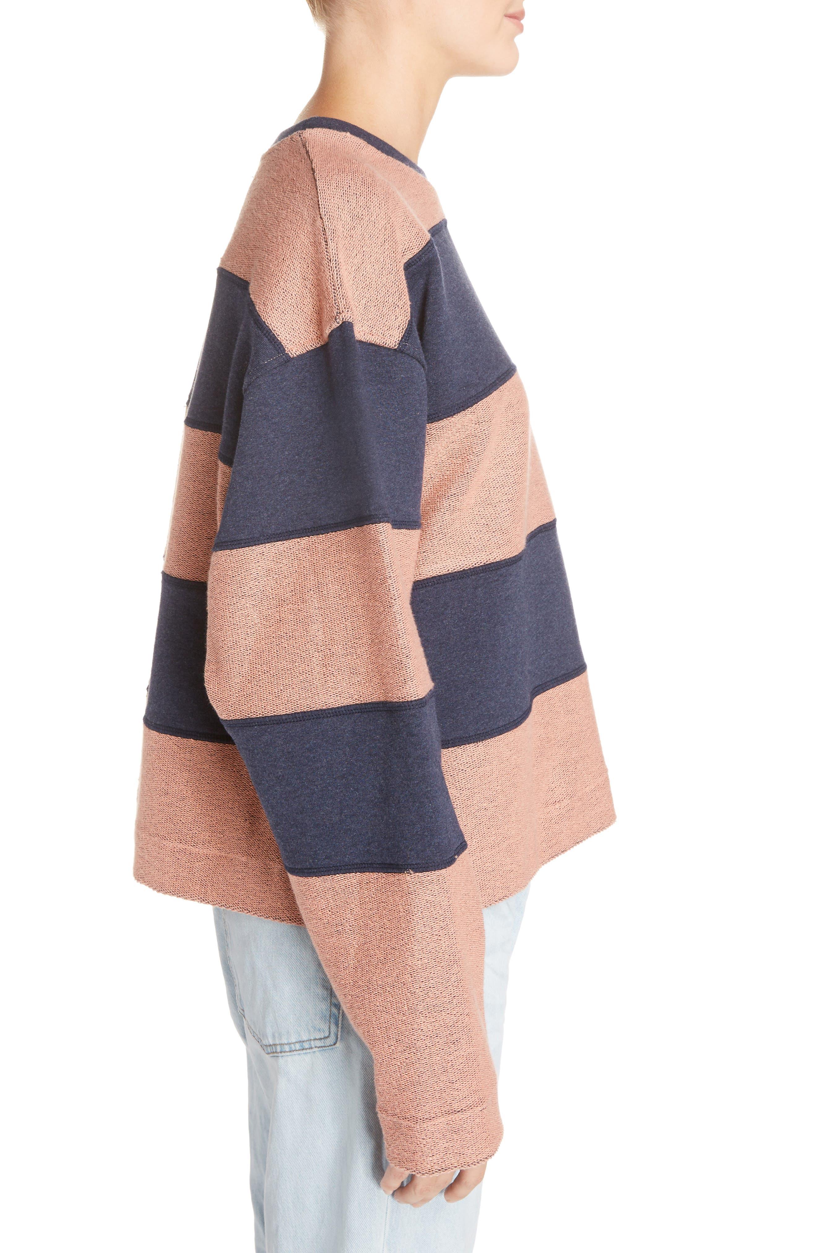 Diana Stripe Sweatshirt,                             Alternate thumbnail 4, color,                             Navy Melange/ Pink