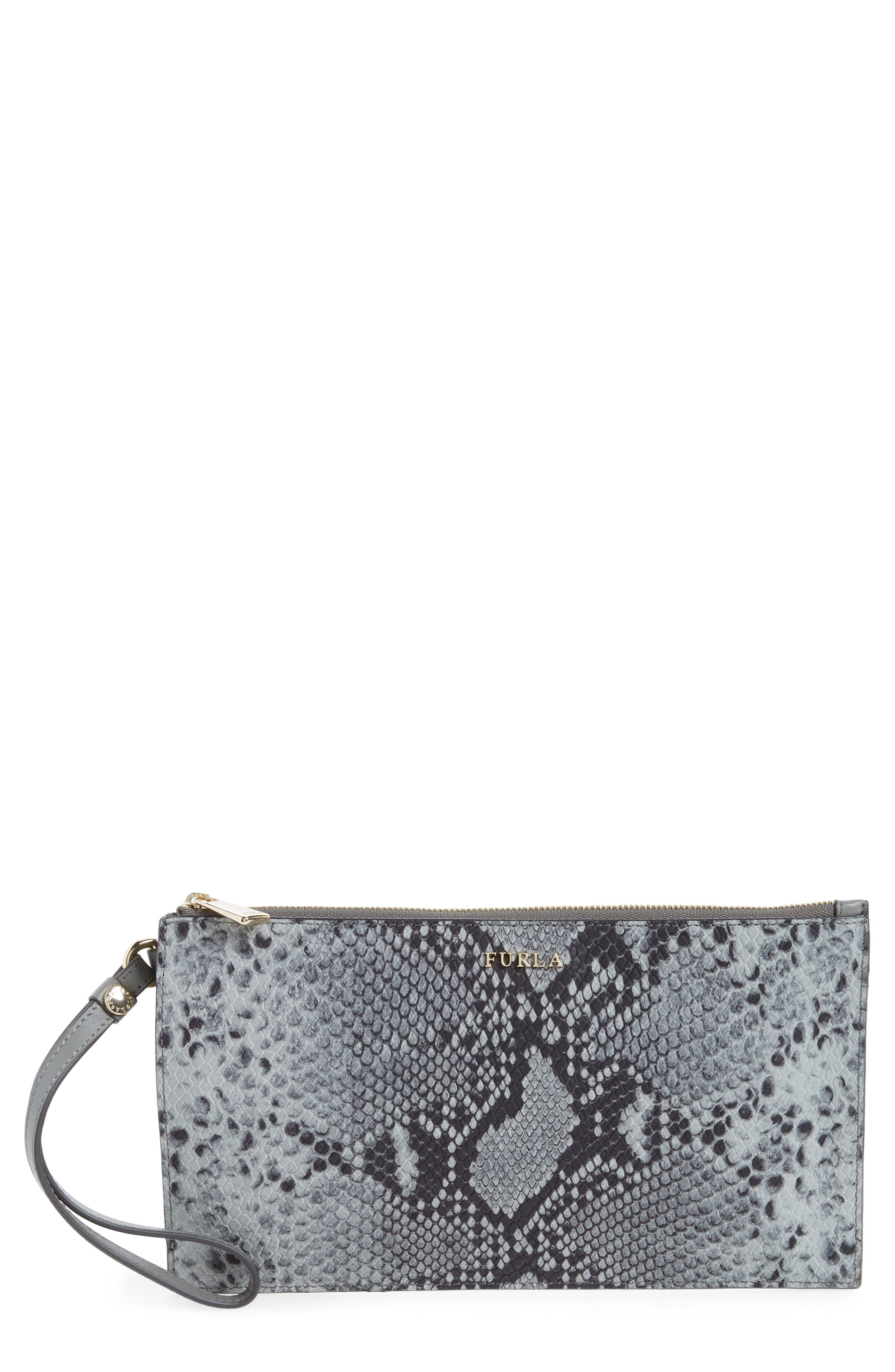 Furla Babylon Python Embossed Leather Wristlet Pouch