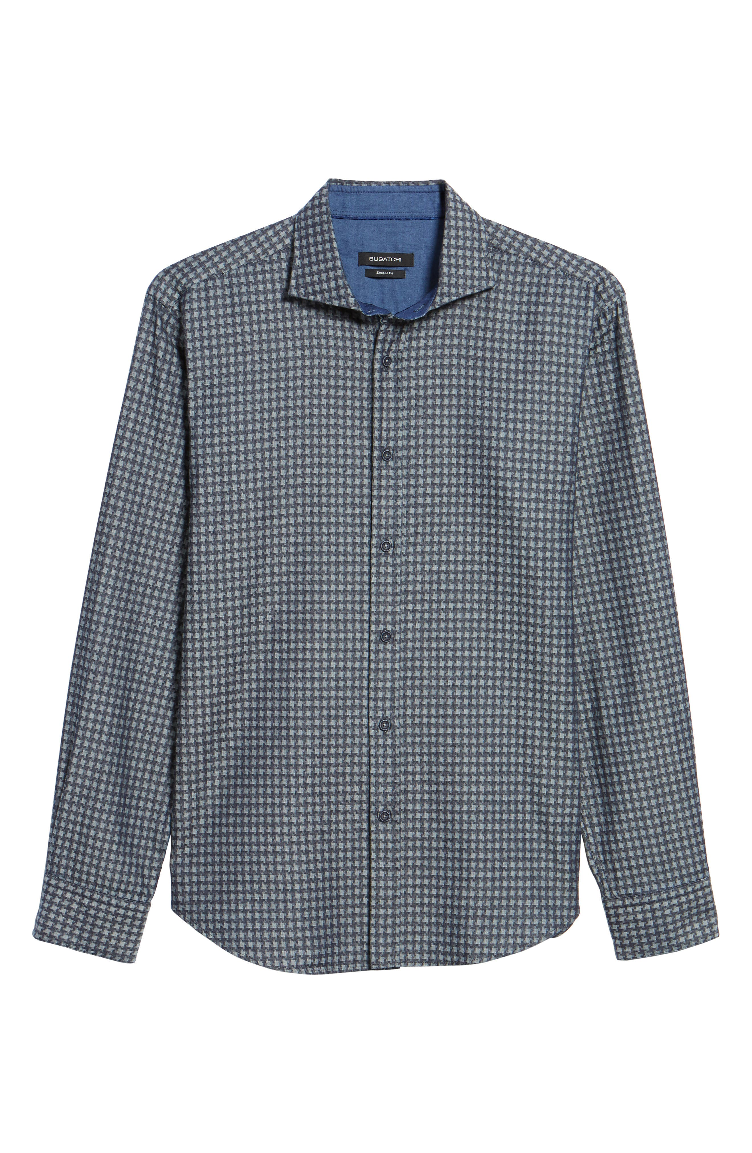 Shaped Fit Houndstooth Print Sport Shirt,                             Alternate thumbnail 6, color,                             Navy