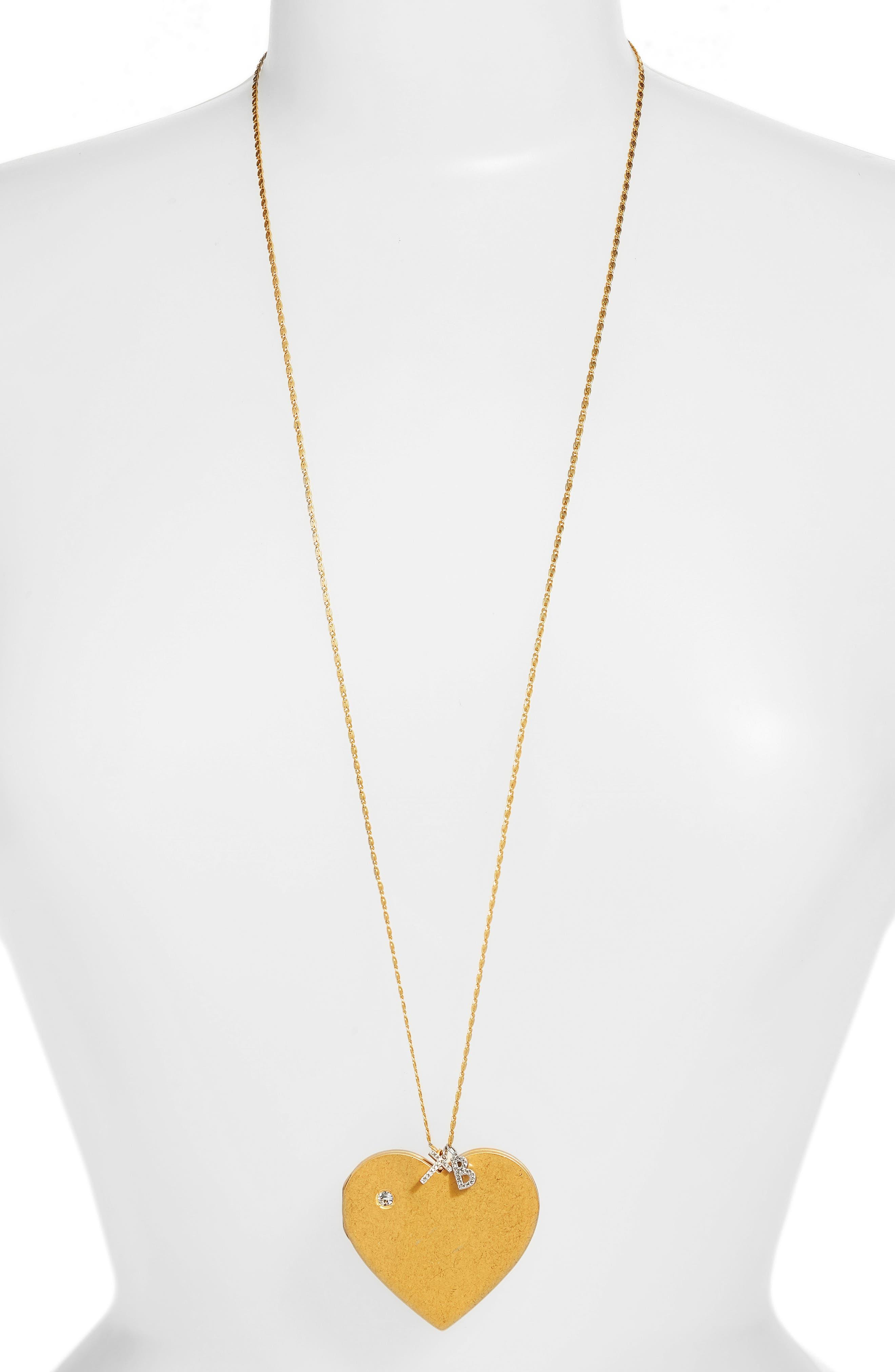 Heart Locket Pendant Necklace,                             Main thumbnail 1, color,                             Vintage Gold