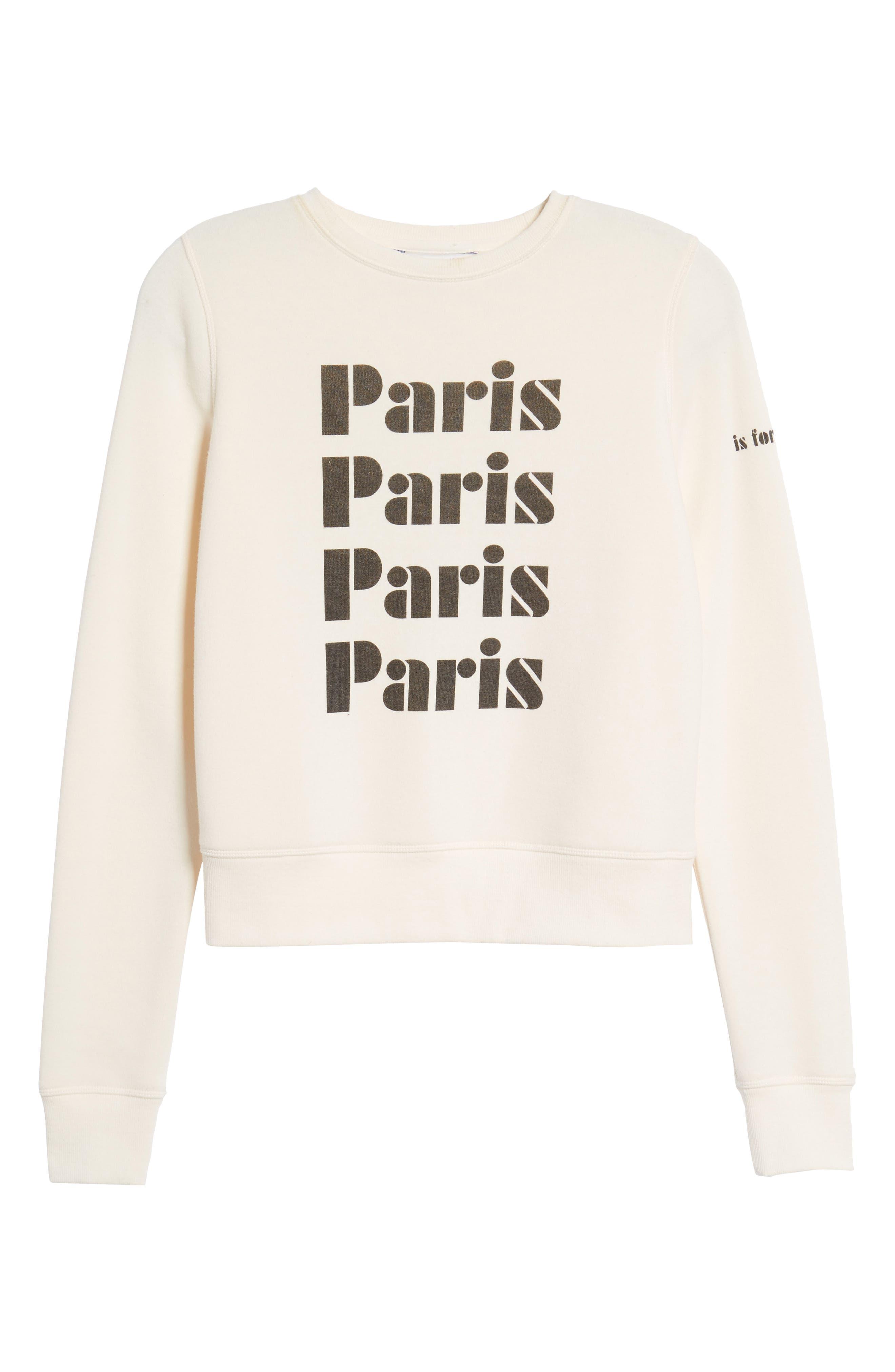 Paris Sweatshirt,                             Alternate thumbnail 6, color,                             Off White/ Black