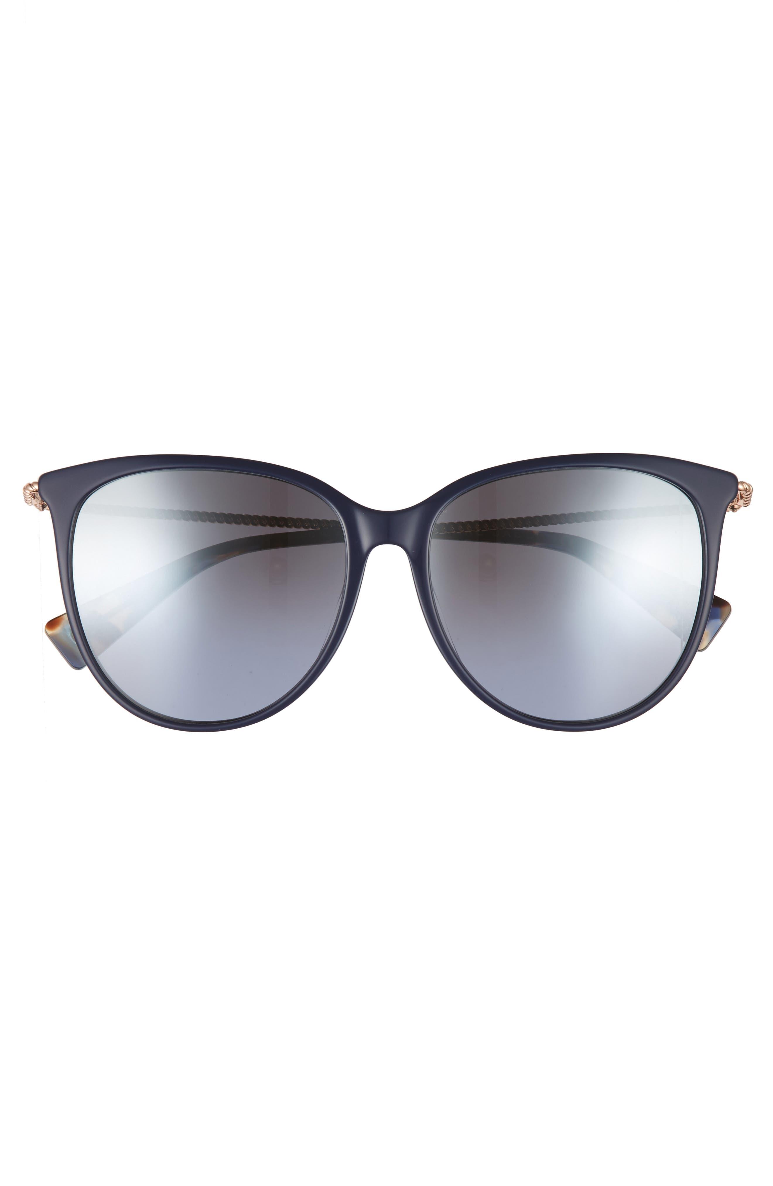 56mm Cat Eye Sunglasses,                             Alternate thumbnail 3, color,                             Blue
