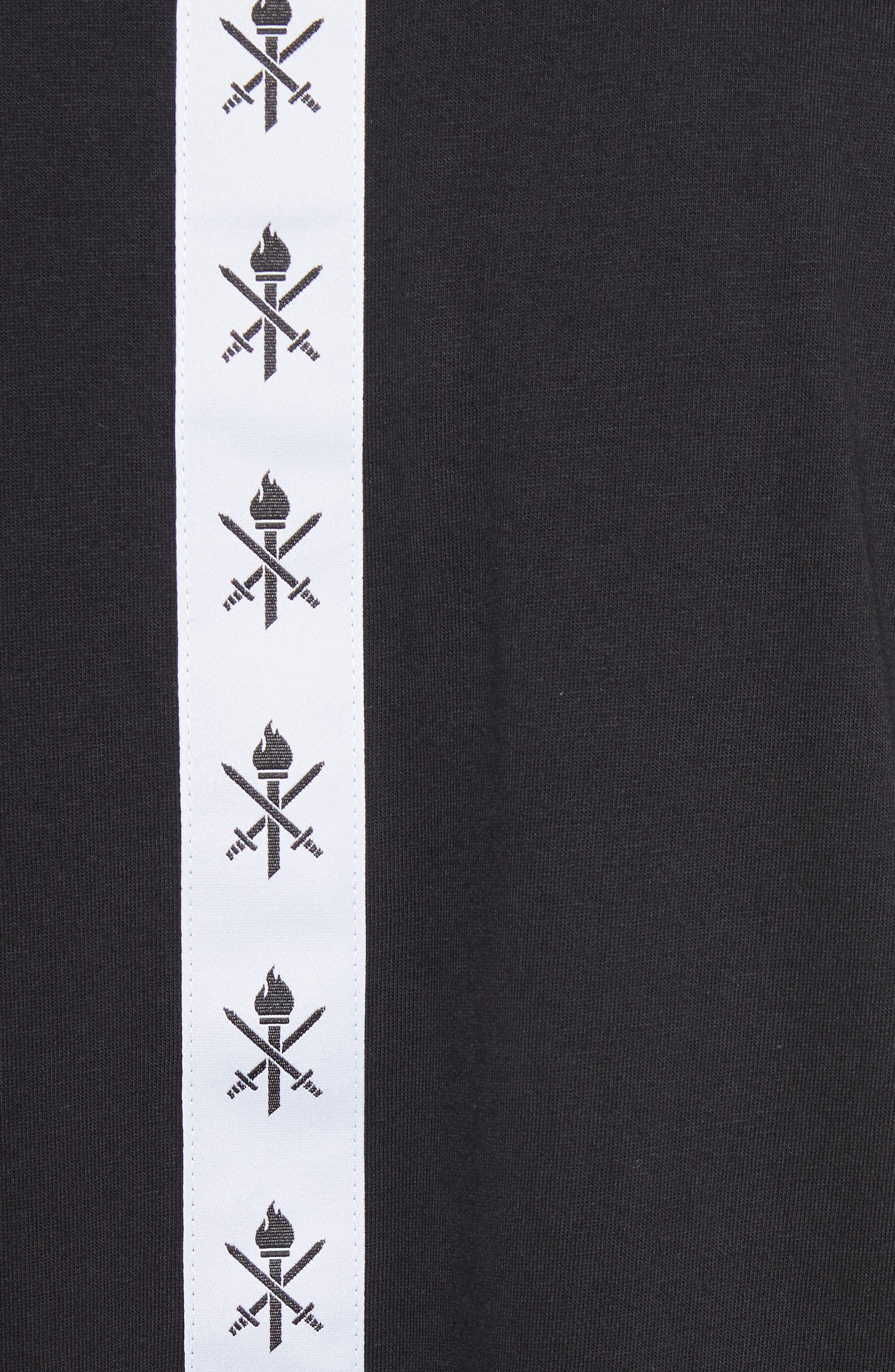 Banded T-Shirt Dress,                             Alternate thumbnail 5, color,                             Black