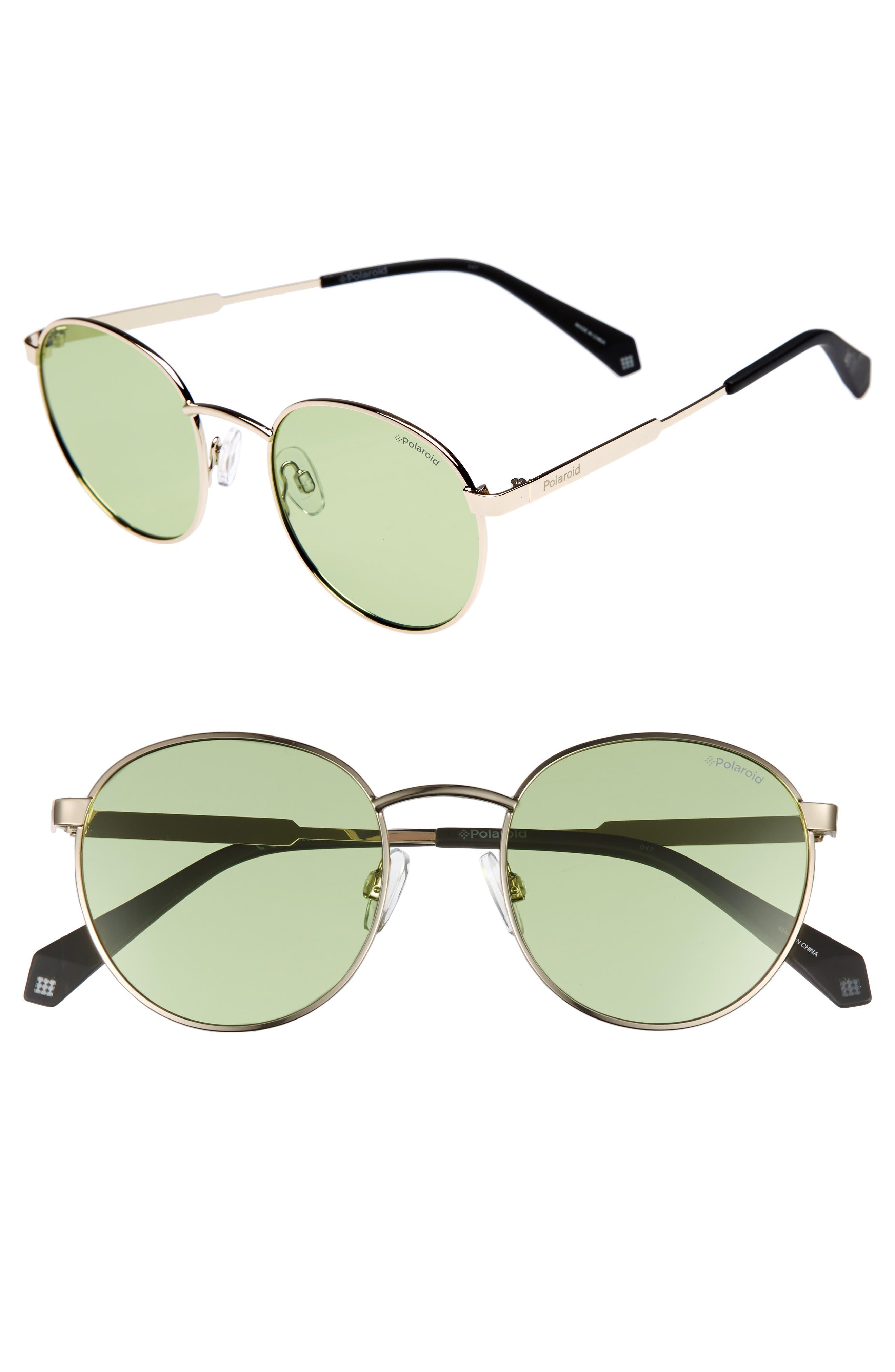 51mm Round Retro Polarized Sunglasses,                             Main thumbnail 1, color,                             Green