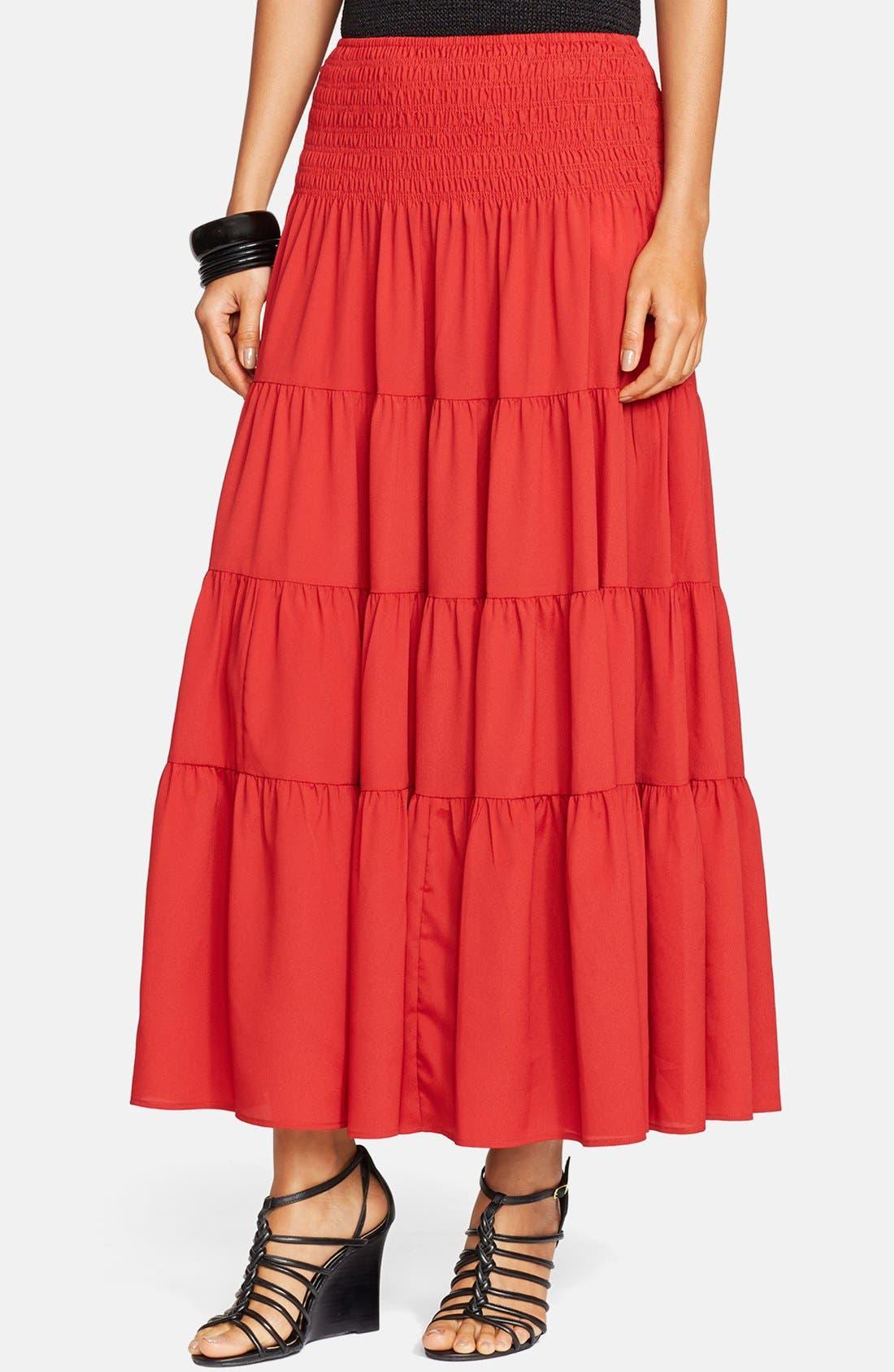 Alternate Image 1 Selected - Lauren Ralph Lauren Ruffled Tier Maxi Skirt