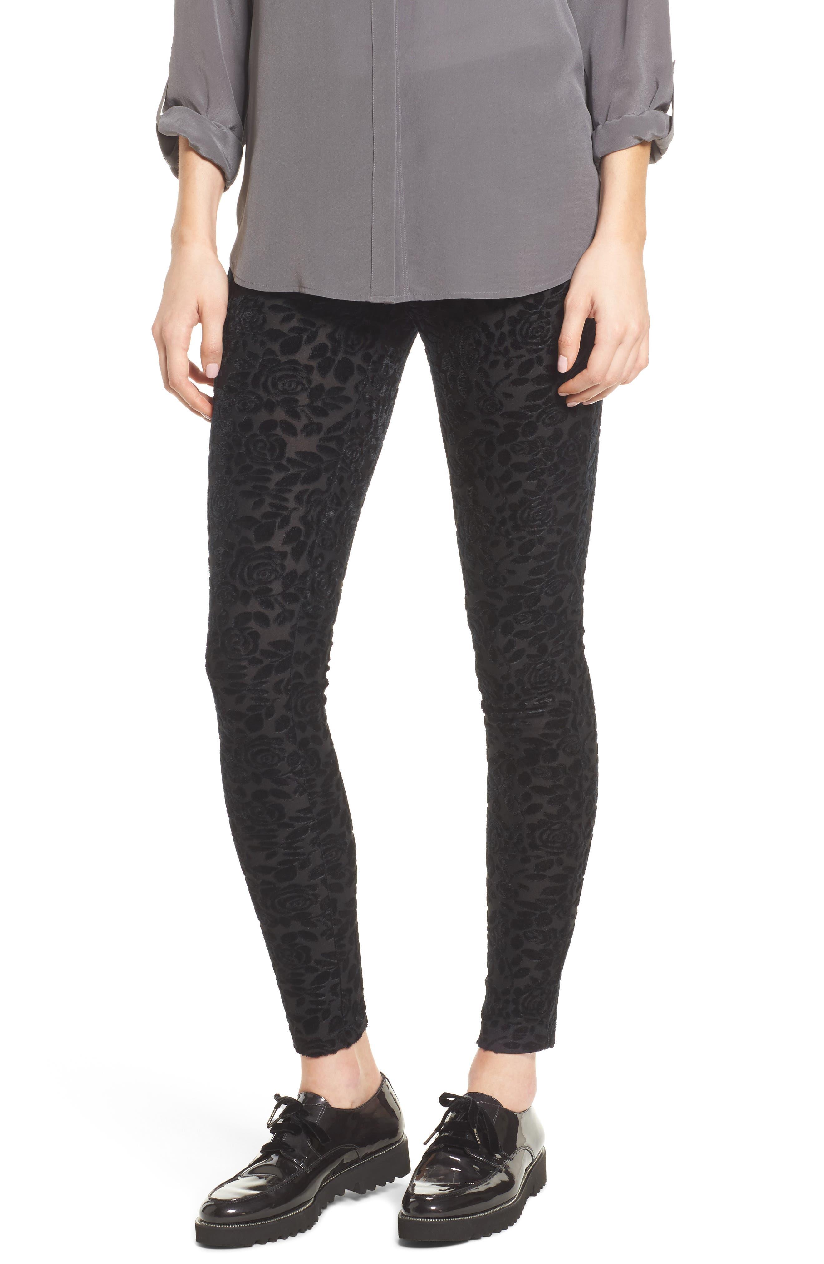 Burnout Floral Leggings,                         Main,                         color, Black