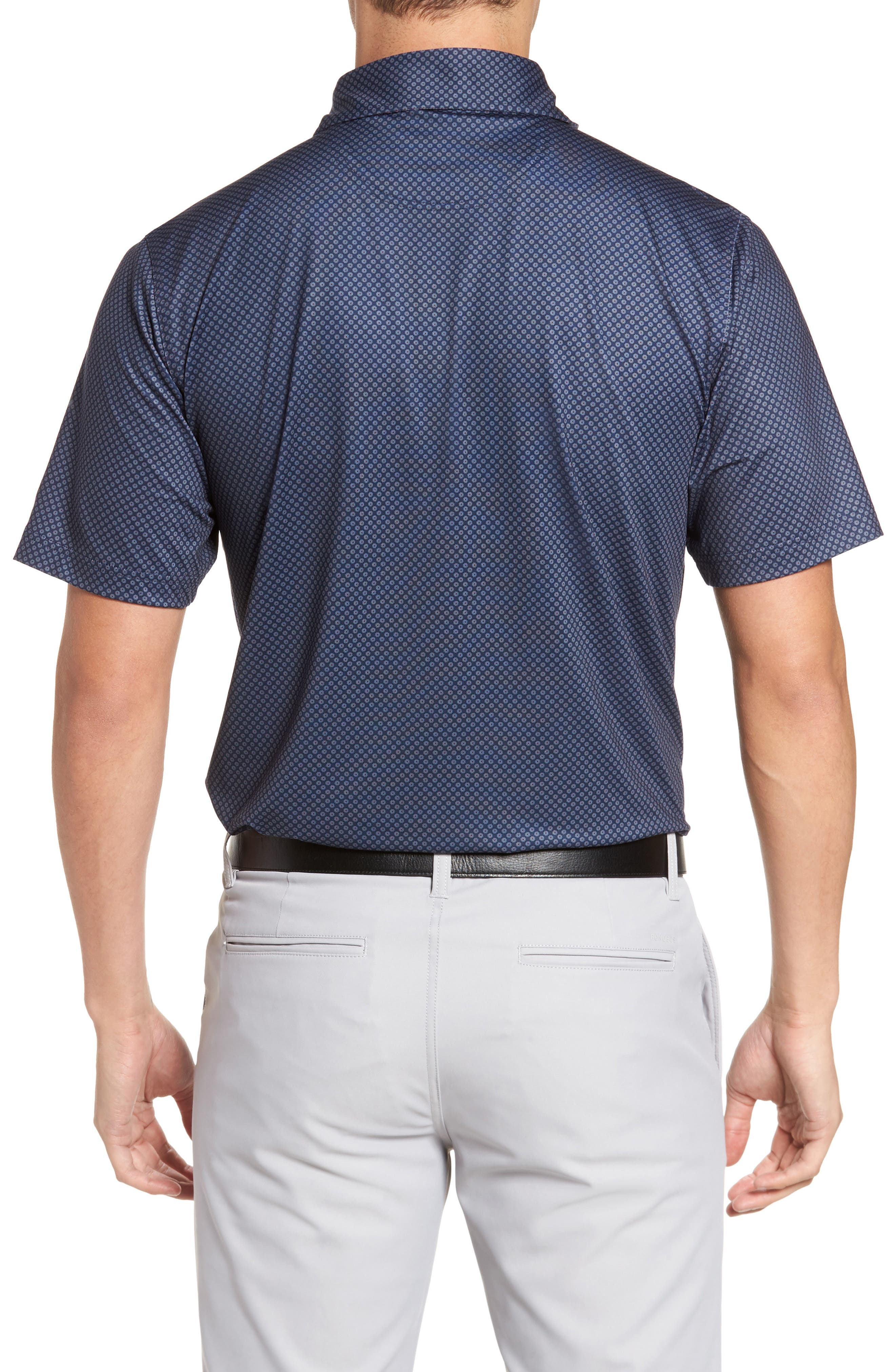 XH20 Floral Print Polo,                             Alternate thumbnail 2, color,                             Midnight Ink