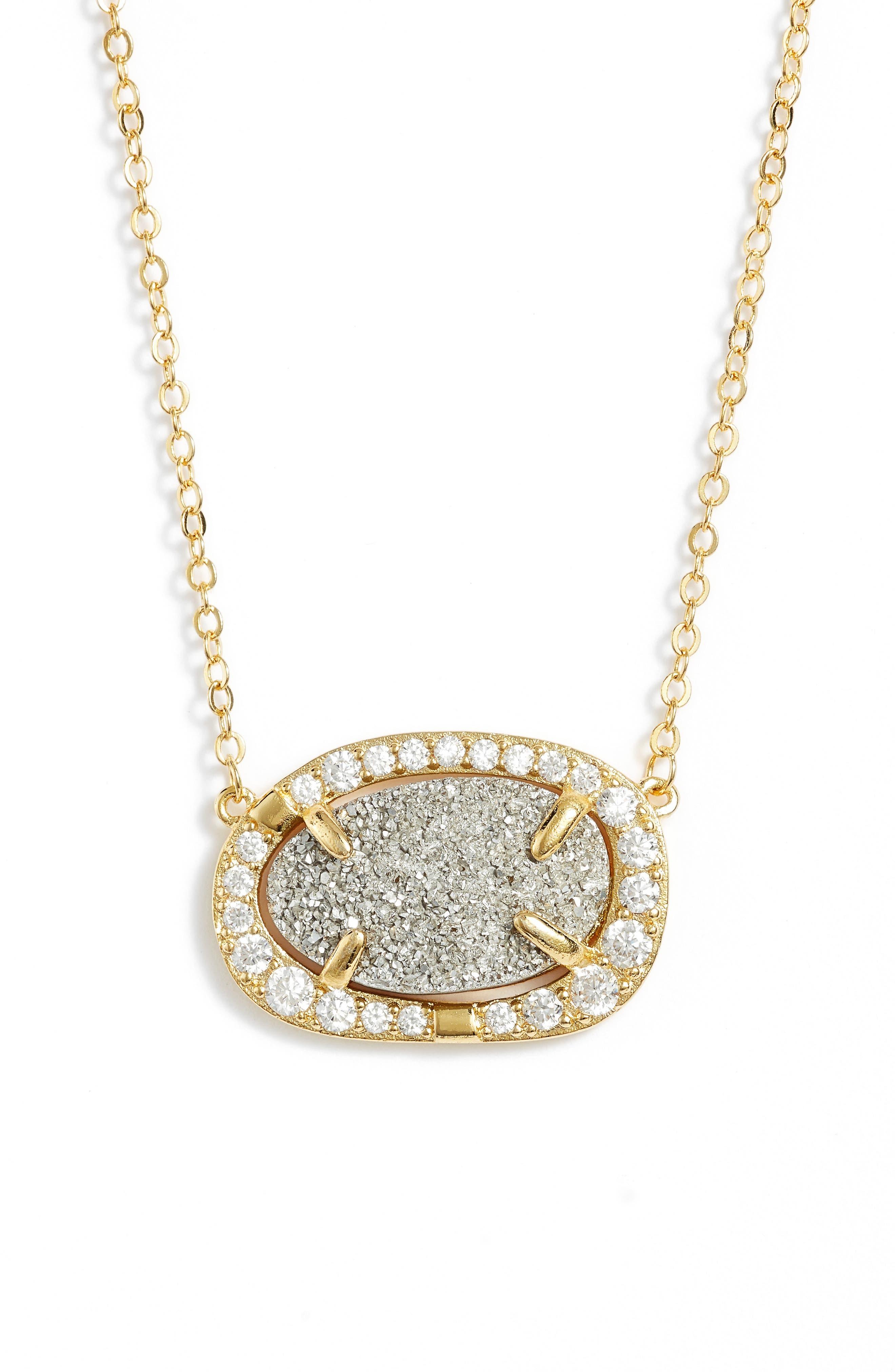Aviva Pendant Necklace,                             Main thumbnail 1, color,                             Grey Druzy/ Gold