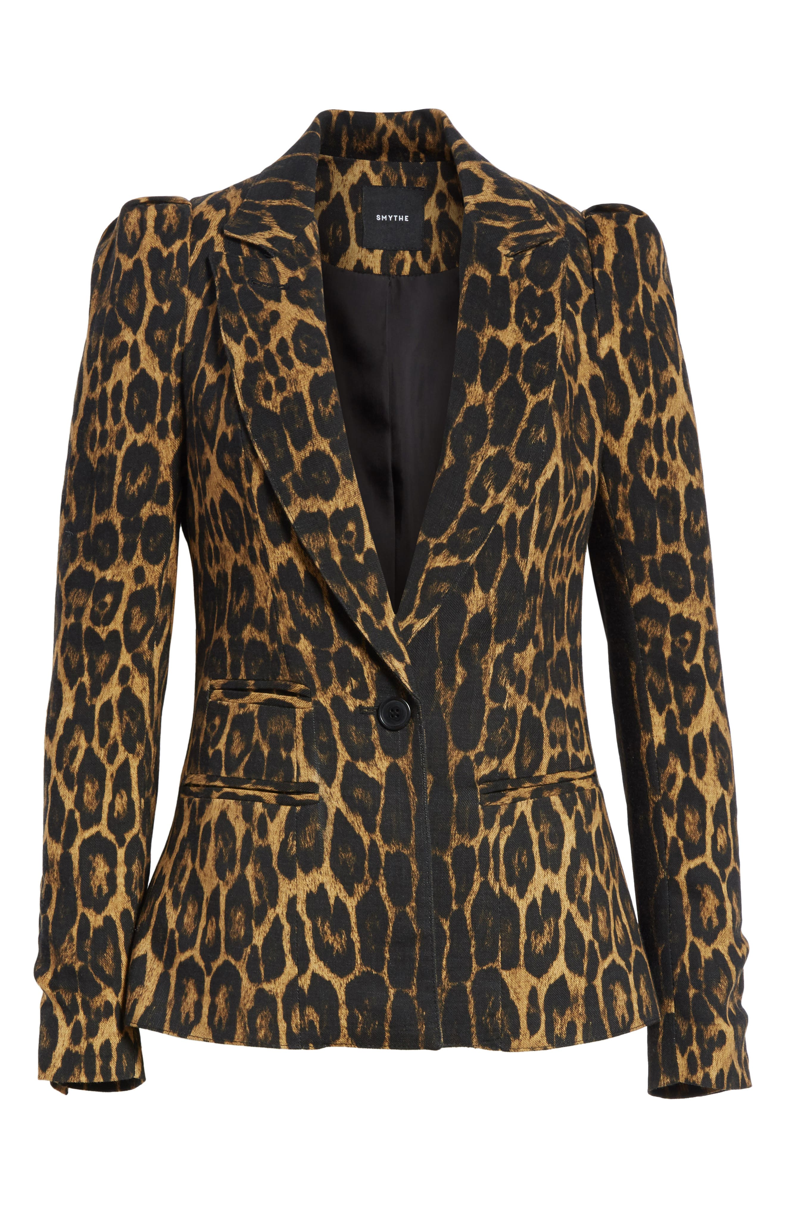 Leopard Puff Shoulder Wool Blazer,                             Alternate thumbnail 6, color,                             Leopard