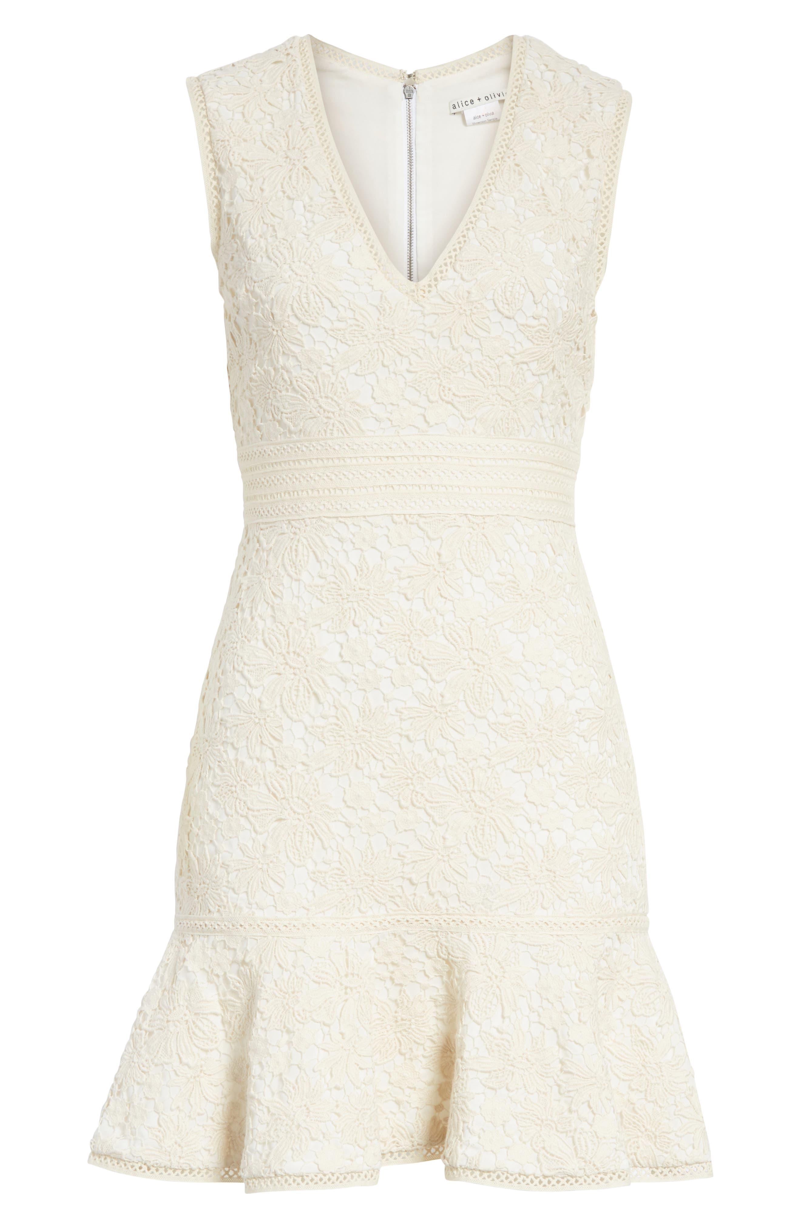 Onella V-Neck Lace Dress,                             Alternate thumbnail 6, color,                             Natural