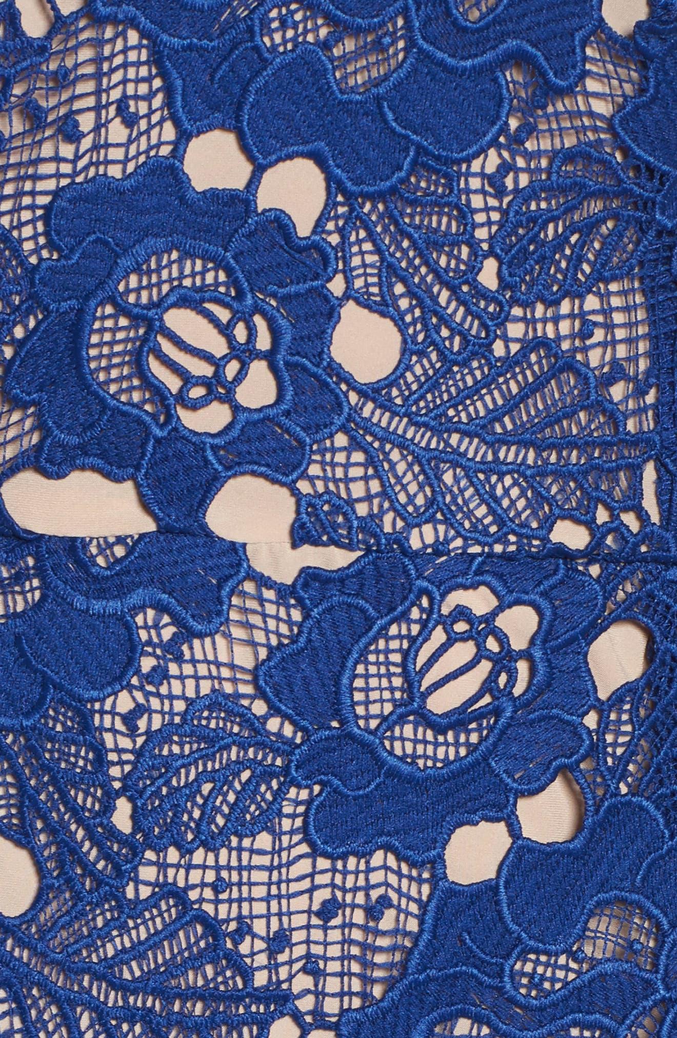 Sky Beauty Lace Ruffle Dress,                             Alternate thumbnail 5, color,                             Catalina Blue