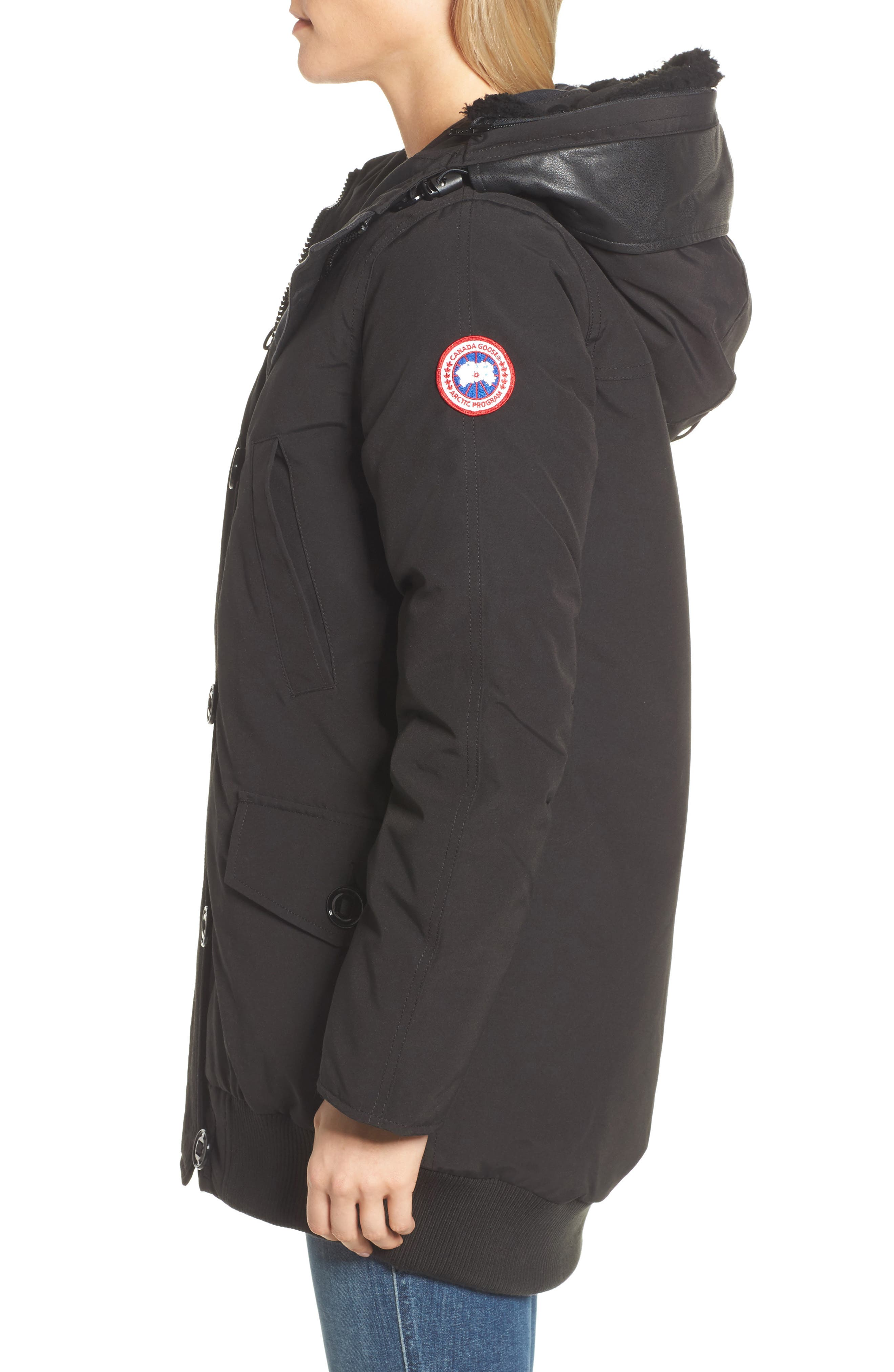 Finnegan 625-Fill Power Down Parka with Genuine Shearling Hood Lining,                             Alternate thumbnail 3, color,                             Black