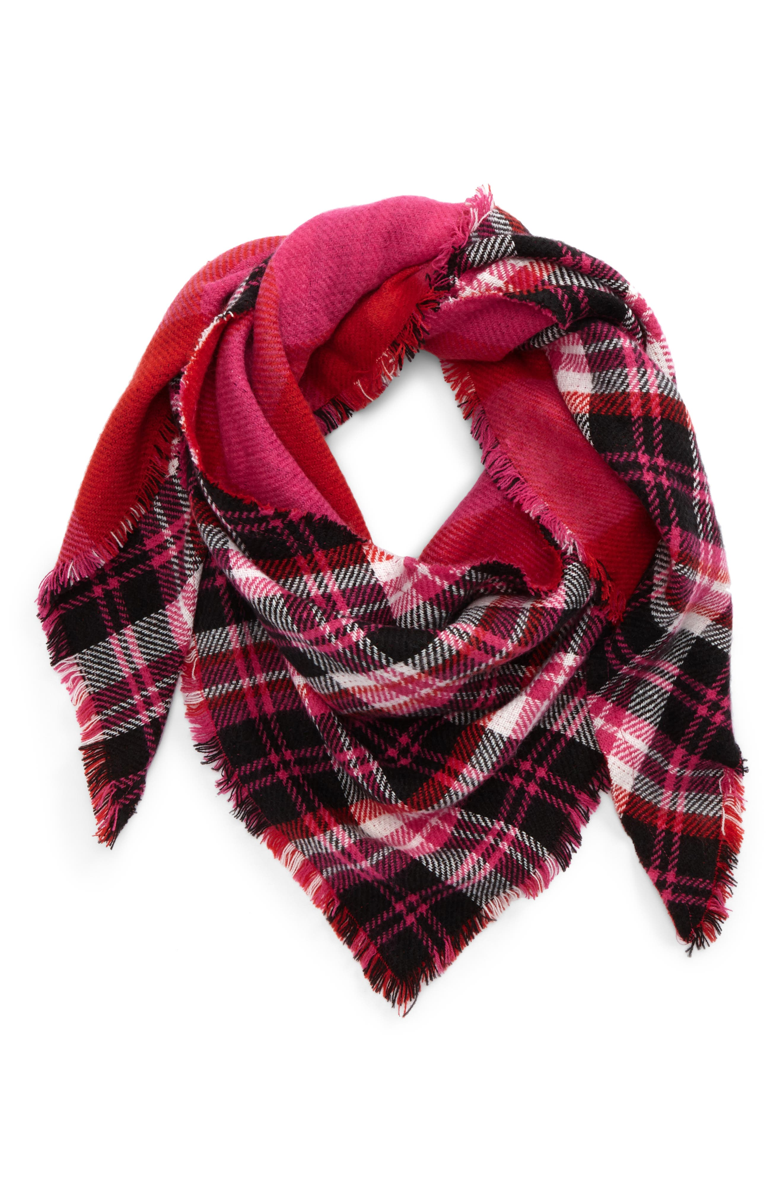 Reversible Plaid Triangle Scarf,                         Main,                         color, Pink Multi